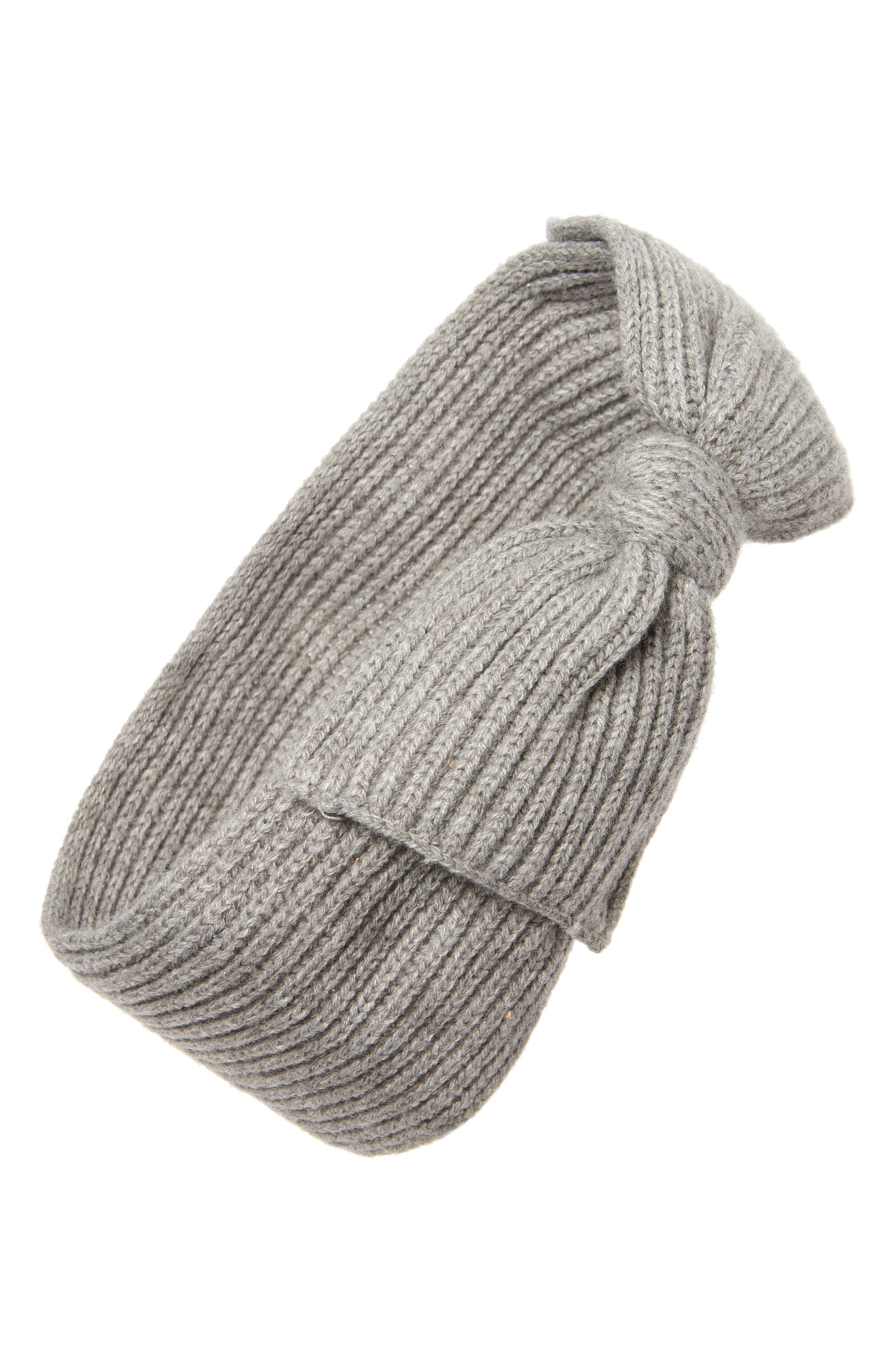 bow knit headband,                         Main,                         color, HEATHER GREY