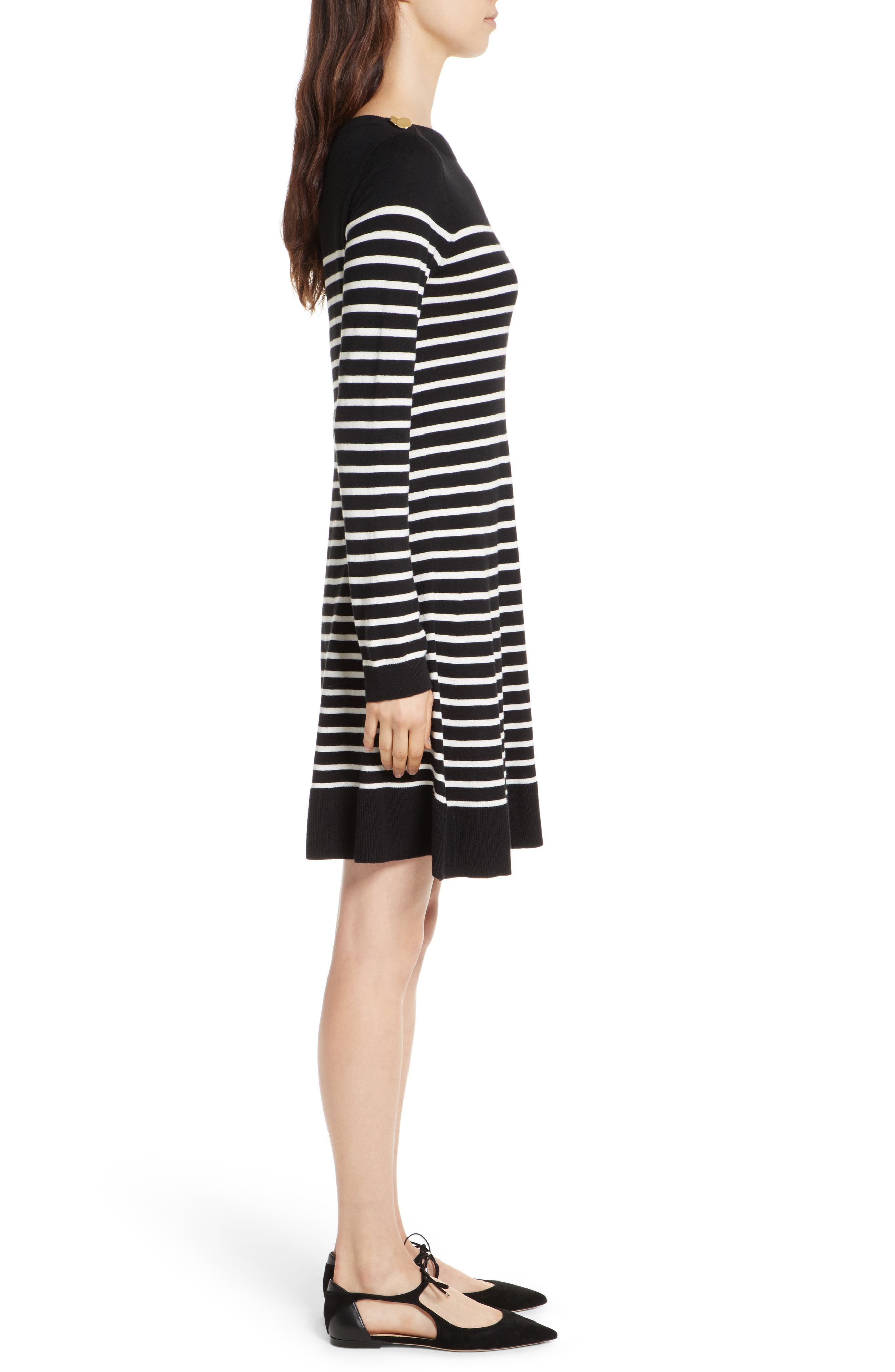 stripe swing sweater dress,                             Alternate thumbnail 3, color,                             003