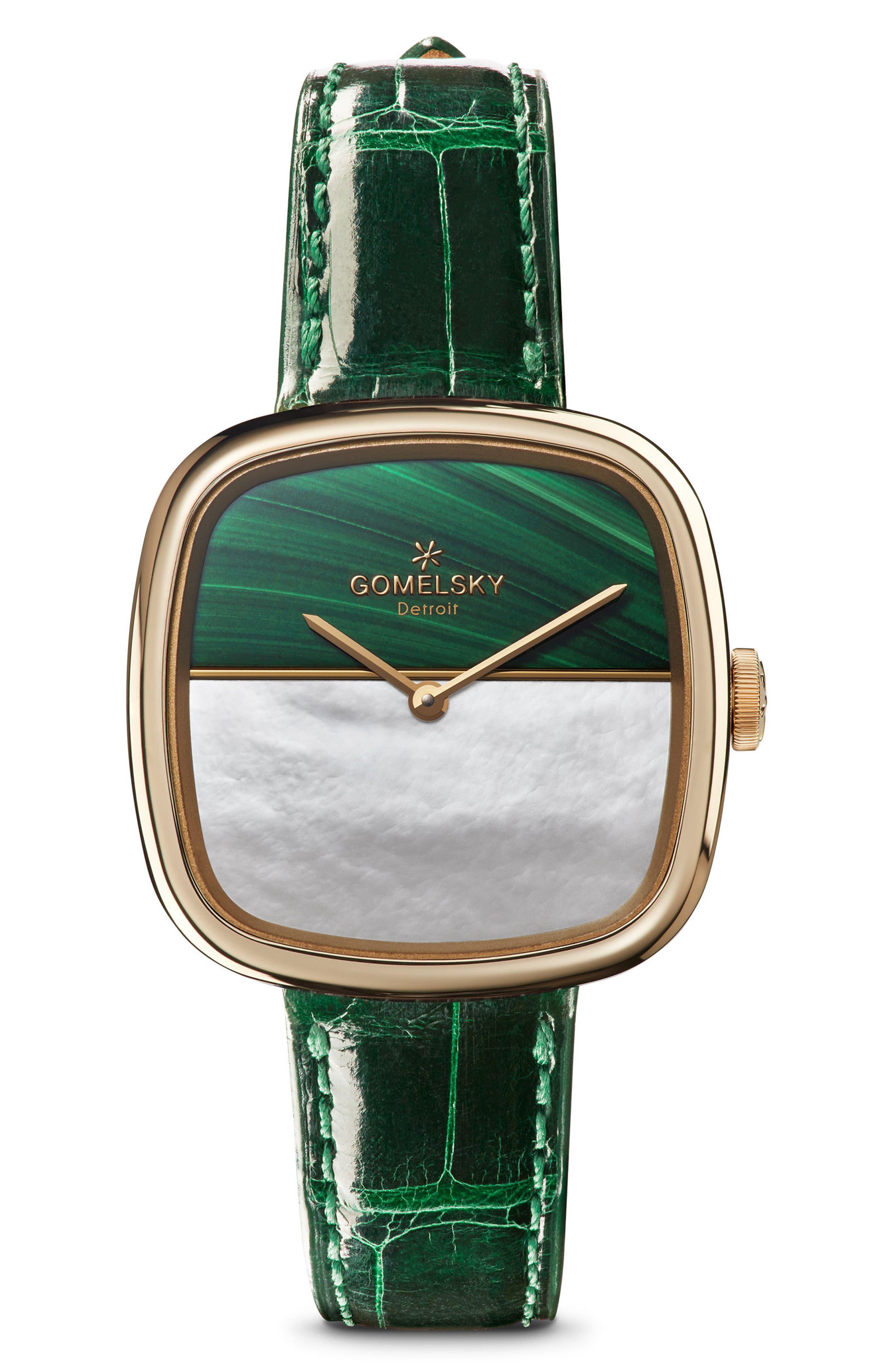 The Eppie Sneed Mini Lizardskin Strap Watch, 32mm,                         Main,                         color, GREEN/ MOP MALACHITE/ GOLD