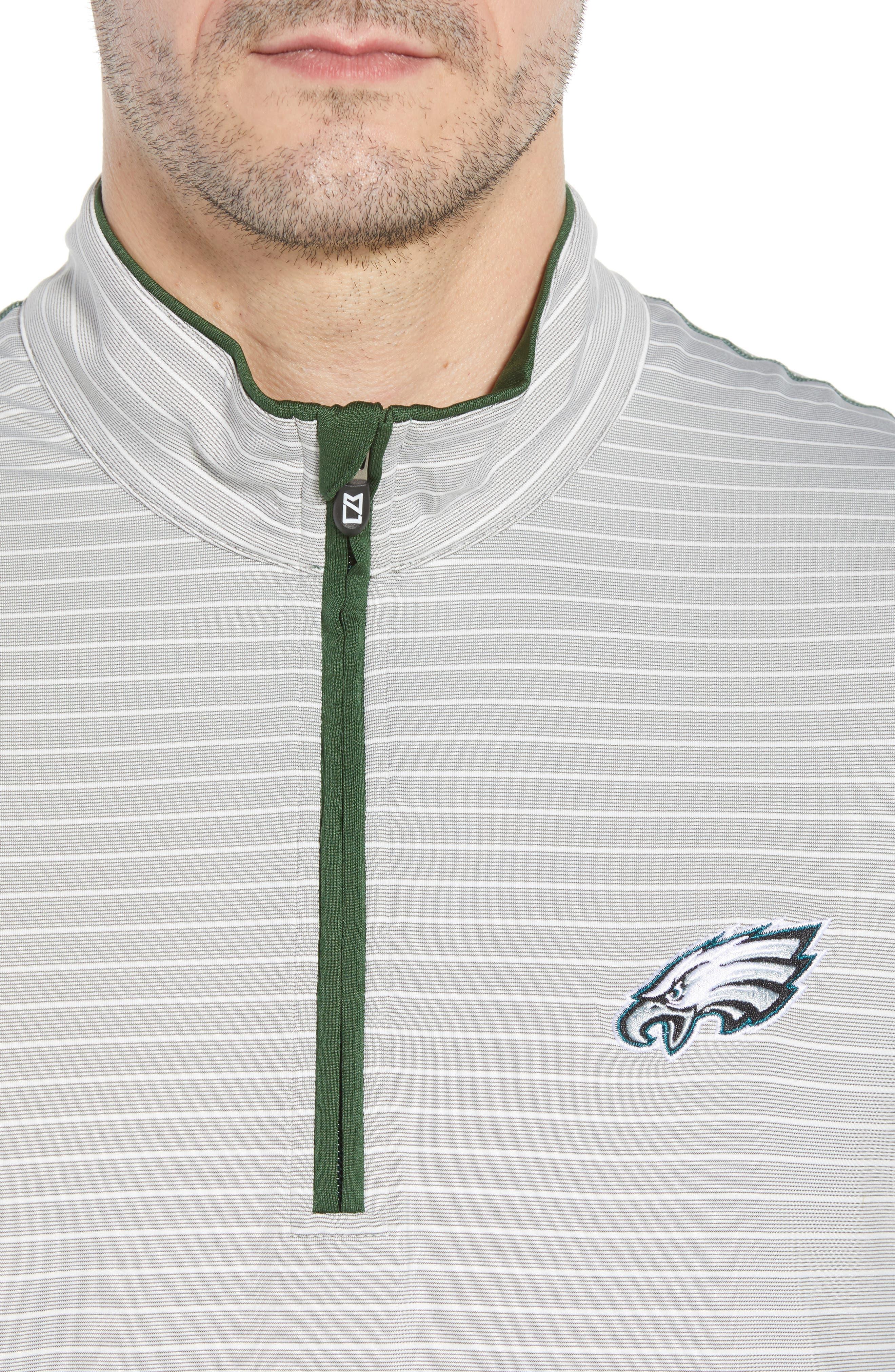 Meridian - Philadelphia Eagles Regular Fit Half Zip Pullover,                             Alternate thumbnail 4, color,                             HUNTER GREEN