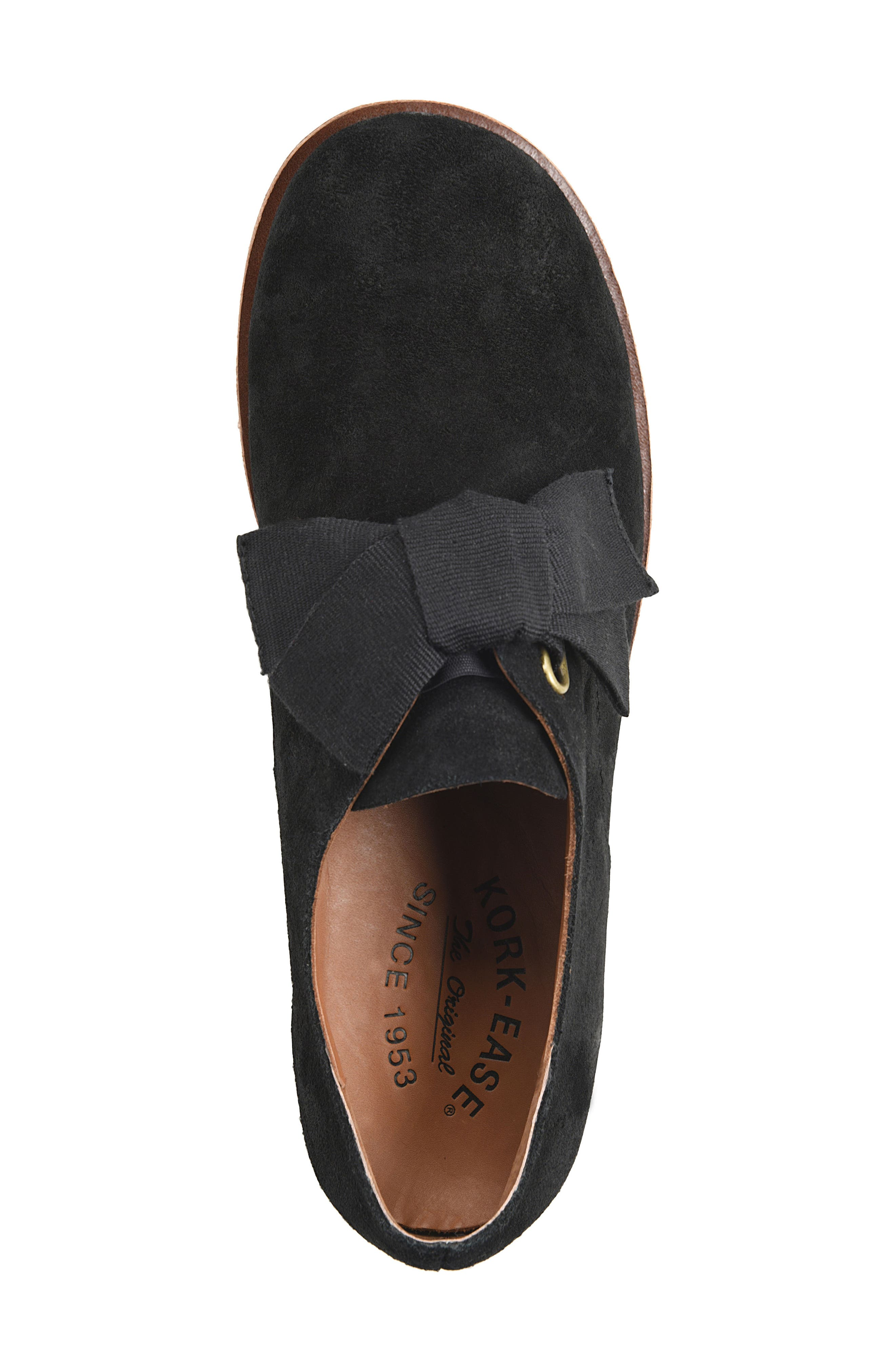 Beryl Bow Flat,                             Alternate thumbnail 5, color,                             BLACK SUEDE