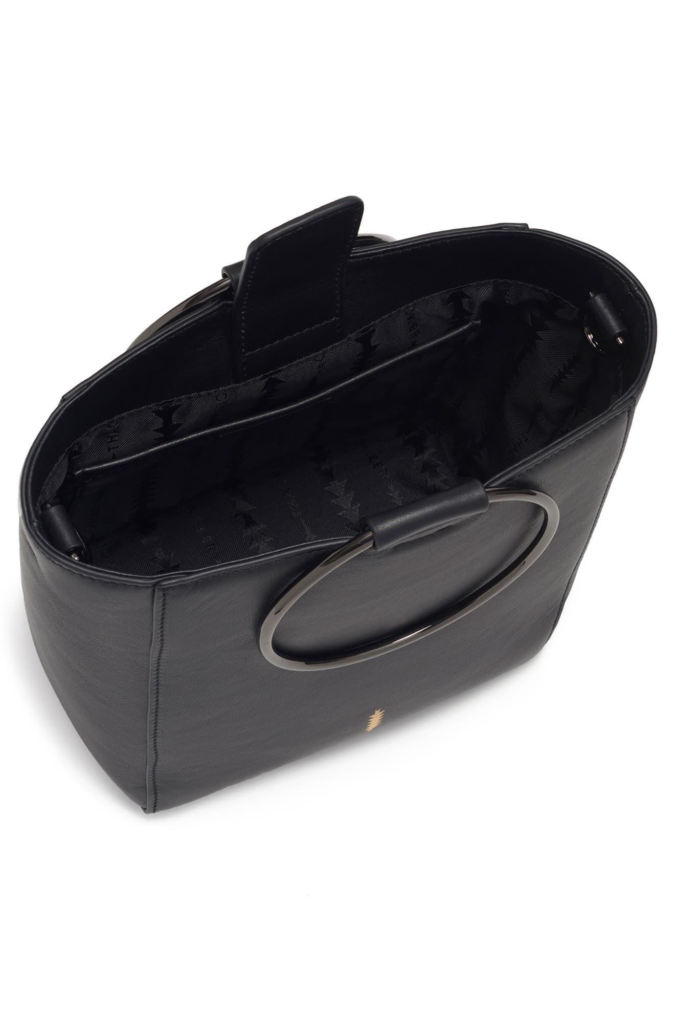 THACKER,                             Le Bucket Leather Bag,                             Alternate thumbnail 4, color,                             BLACK/ GUNMETAL
