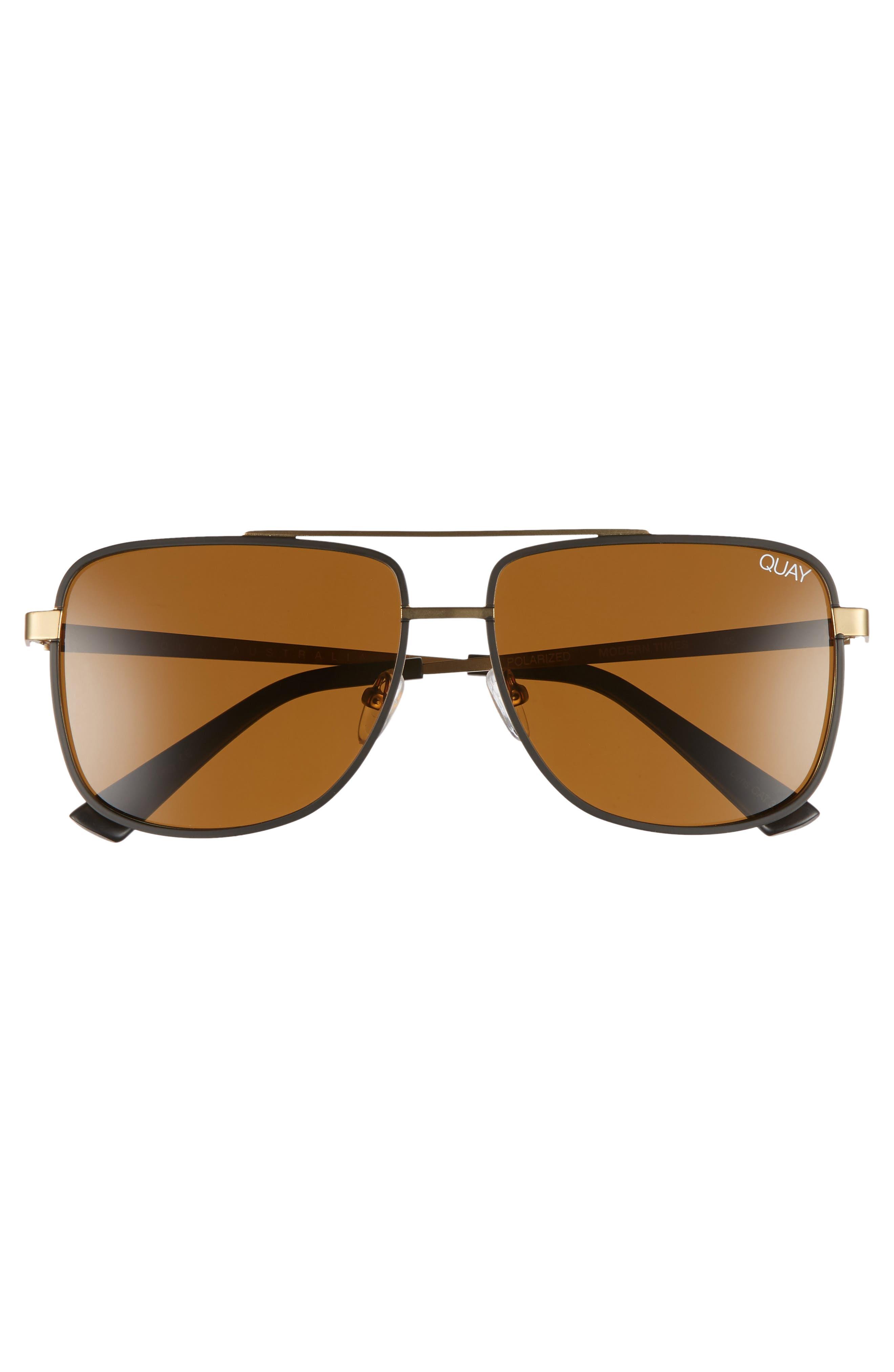 Modern Times 57mm Polarized Aviator Sunglasses,                             Alternate thumbnail 2, color,                             BRONZE BLACK / BROWN LENS