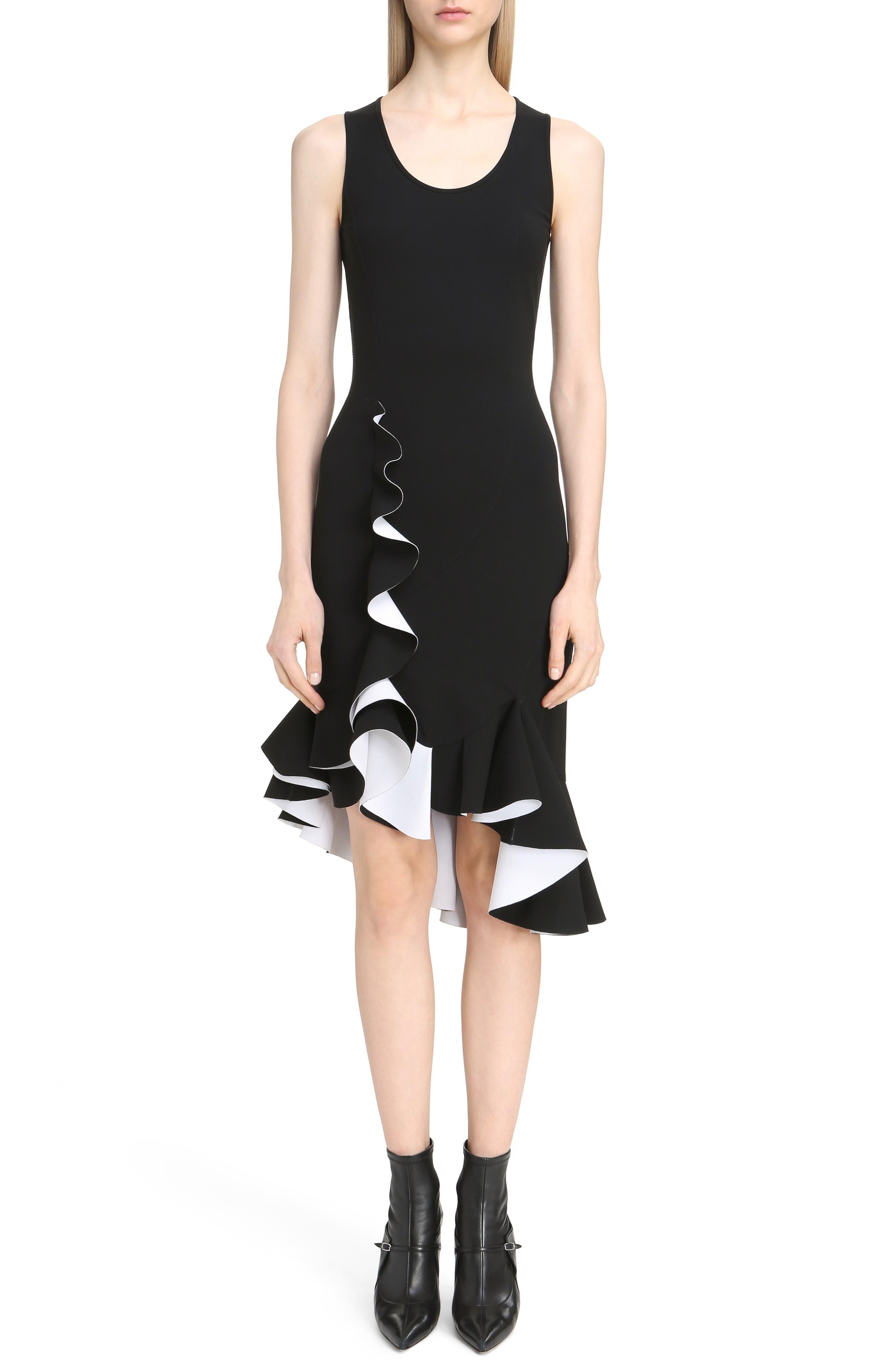 Bicolor Ruffle Crepe Dress,                         Main,                         color,