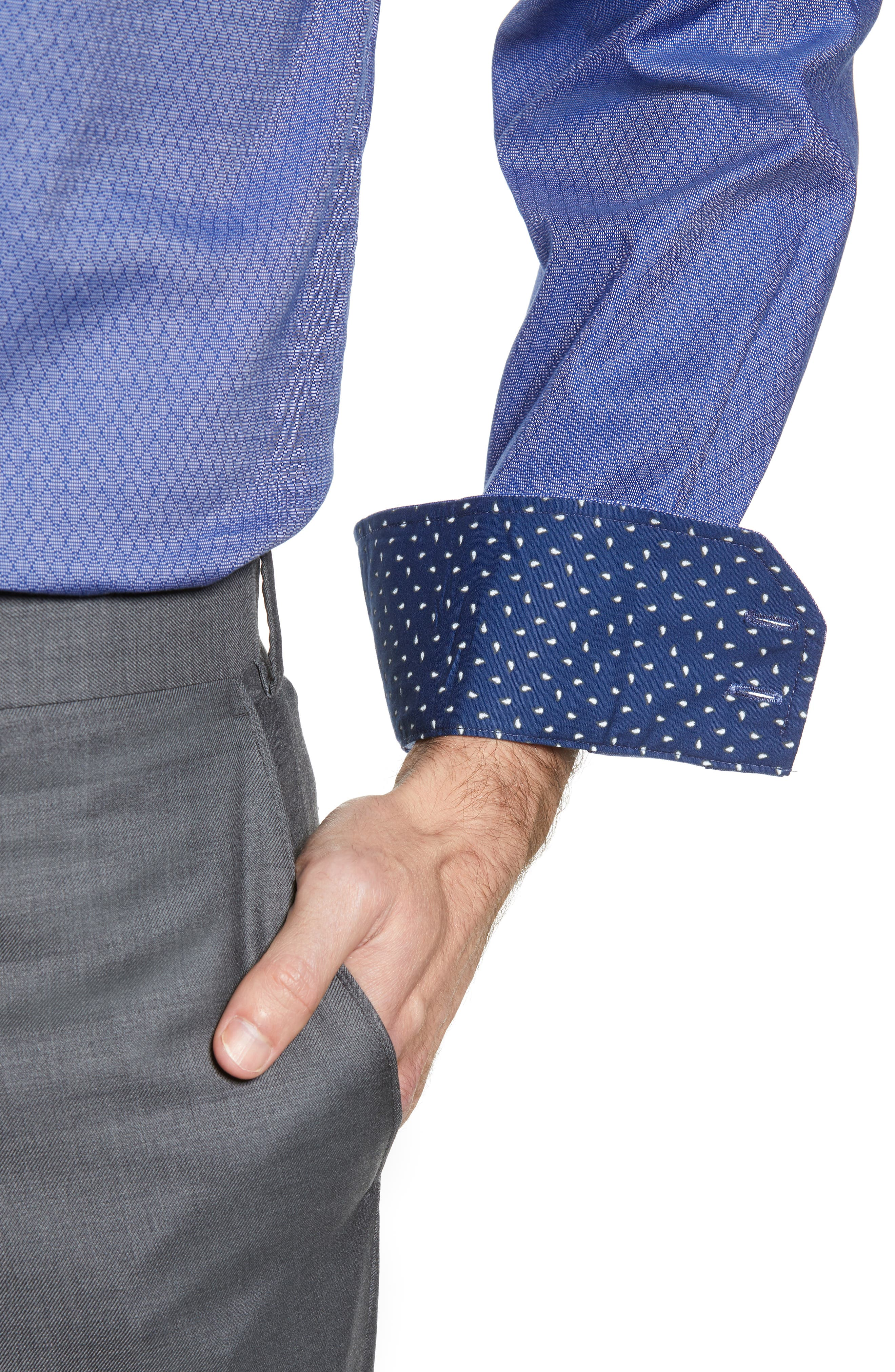Pattern Regular Fit Dress Shirt,                             Alternate thumbnail 2, color,                             NAVY
