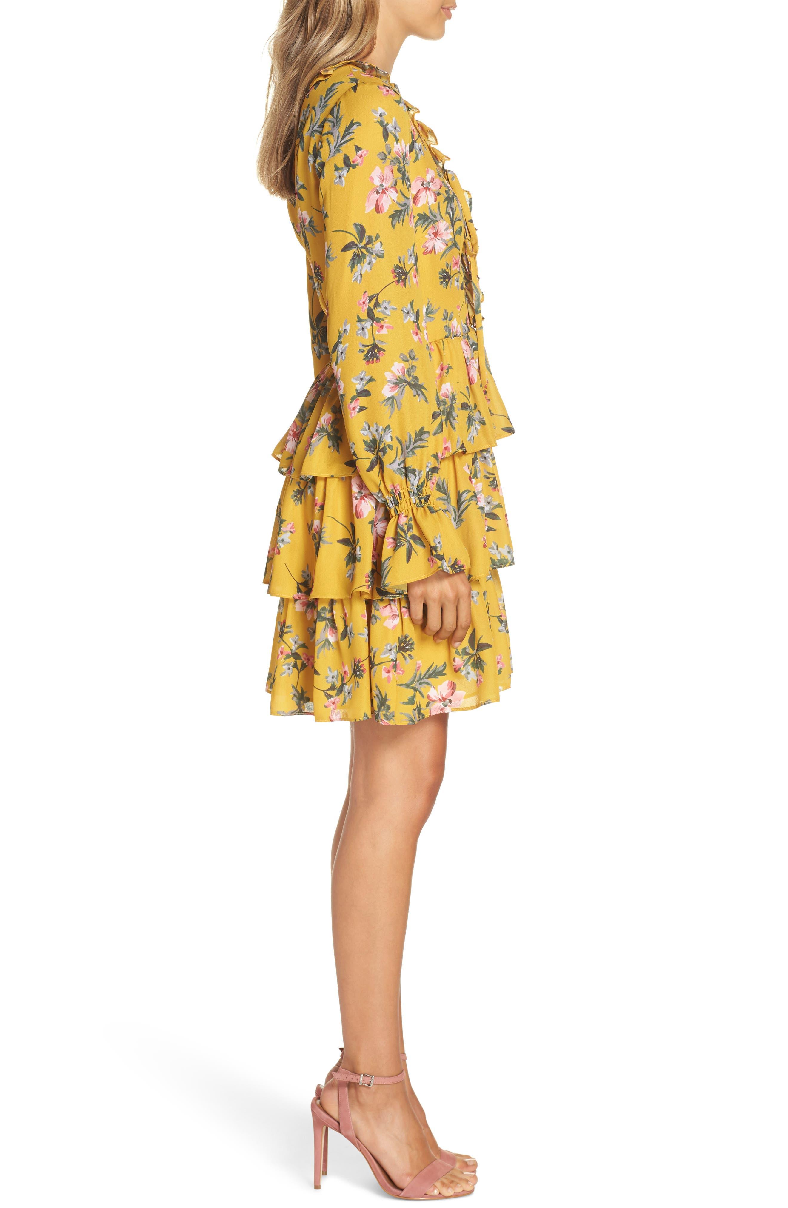 Floral Ruffle Dress,                             Alternate thumbnail 3, color,                             MARIGOLD MULTI