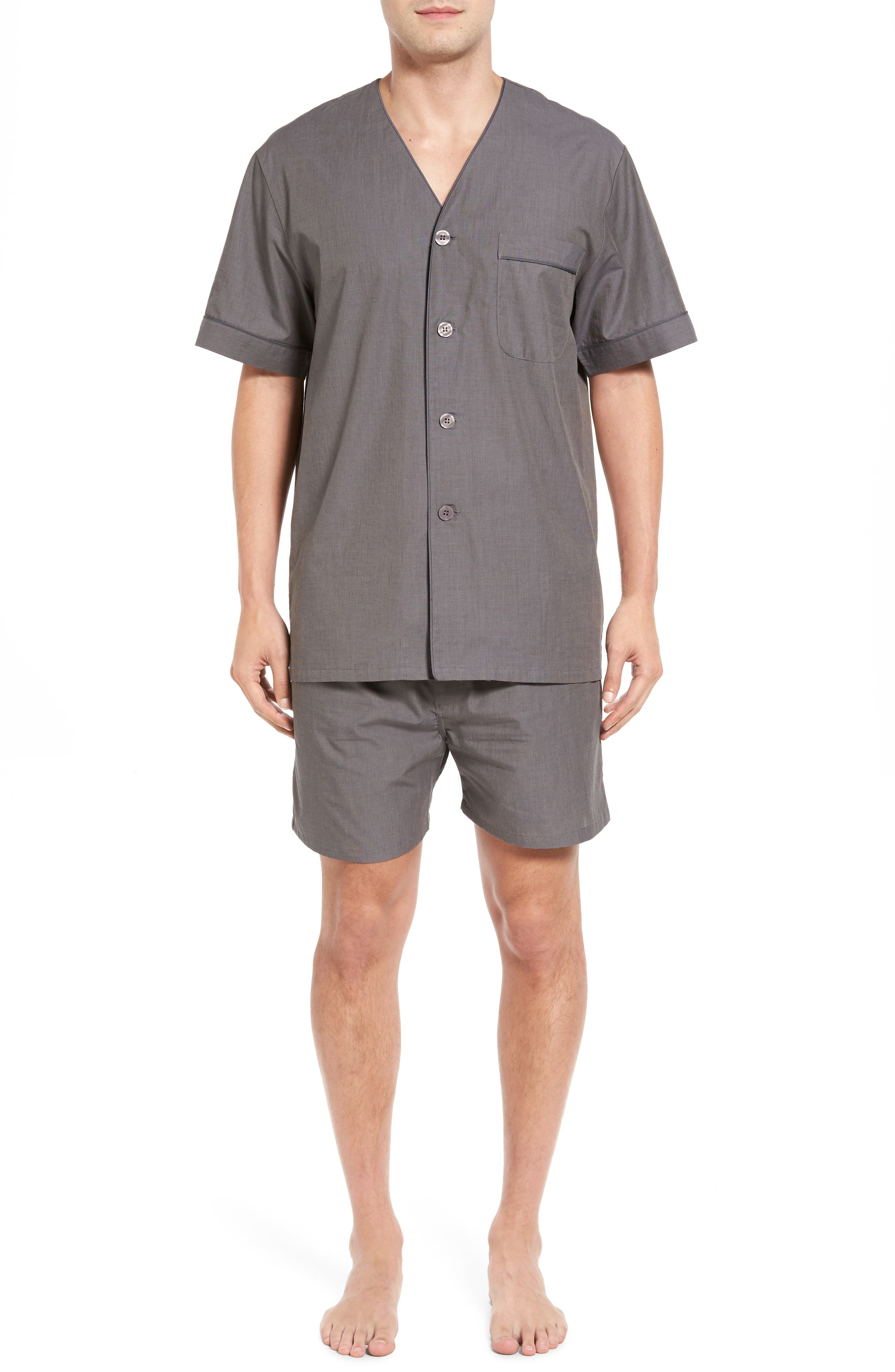 Cotton Short Pajamas,                             Main thumbnail 1, color,                             CHARCOAL