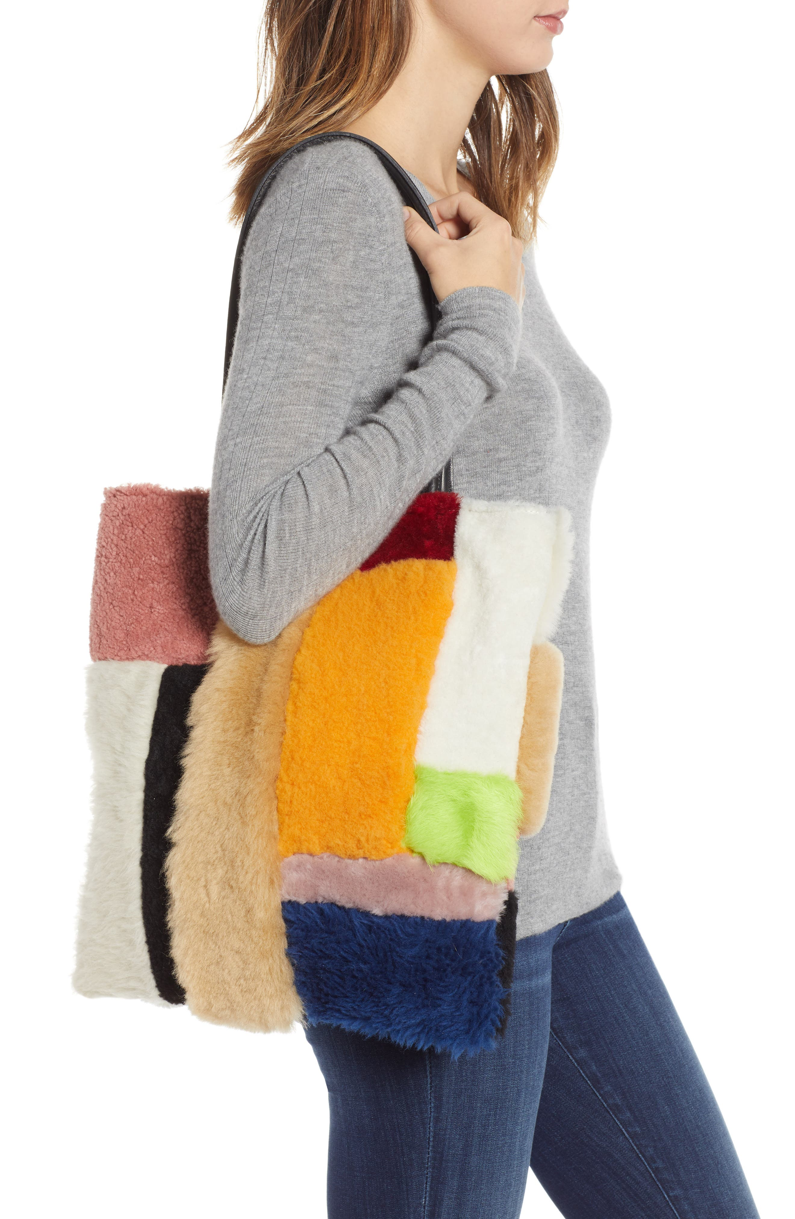 Patchwork Genuine Shearling Tote,                             Alternate thumbnail 2, color,                             MULTI COLOR
