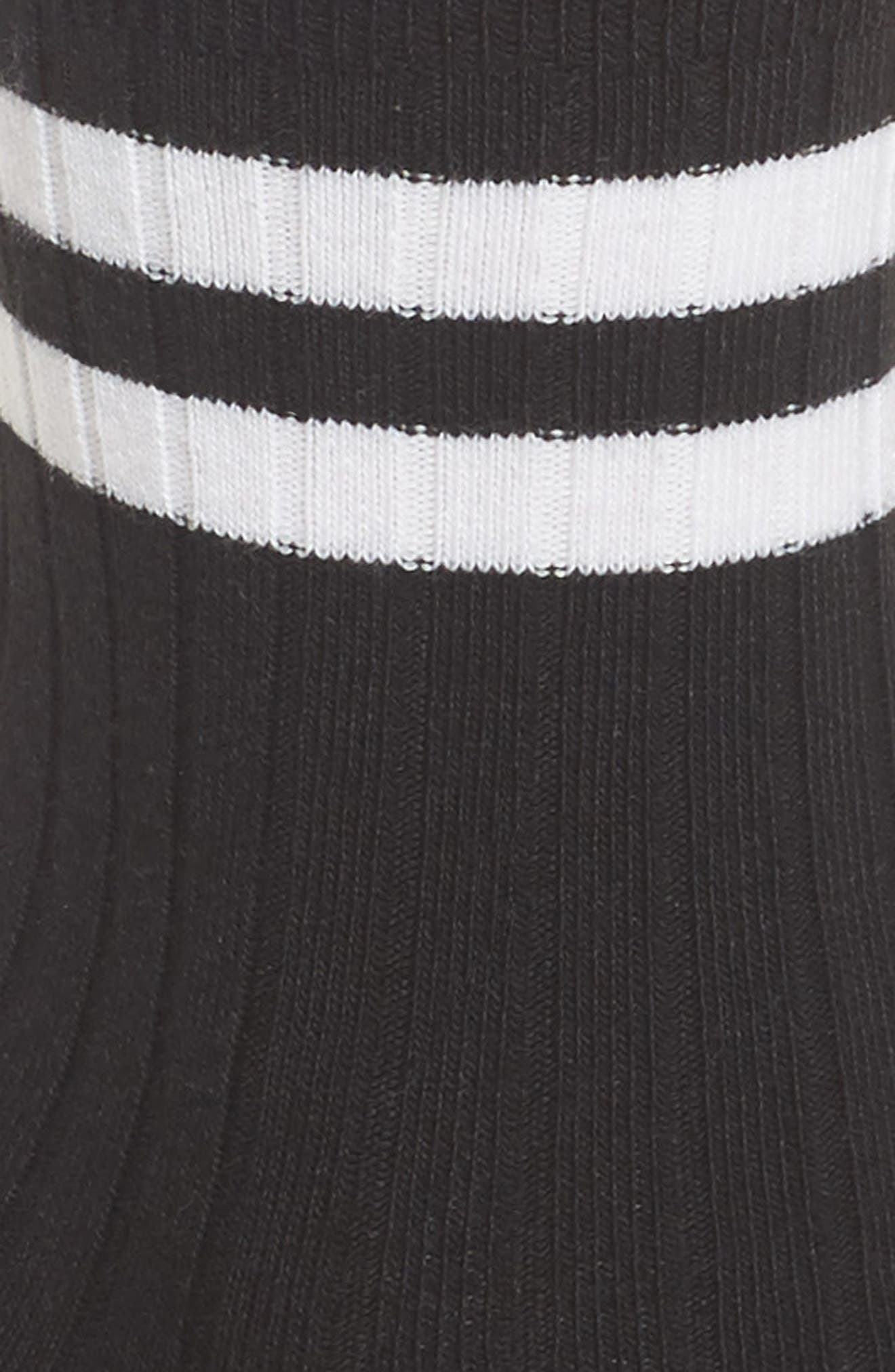 Varsity Stripe Ankle Socks,                             Alternate thumbnail 2, color,                             BLACK