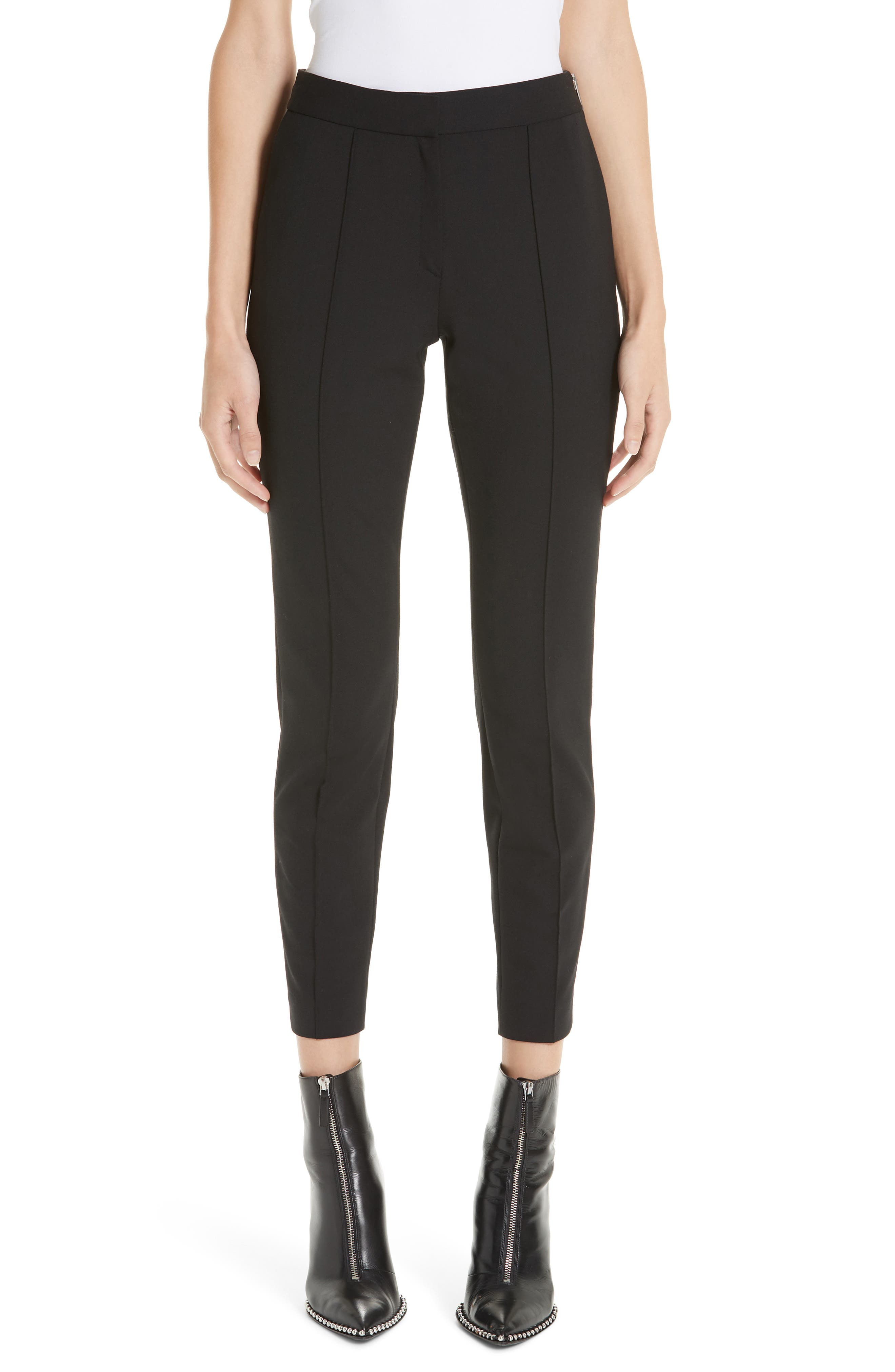 Pintucked Stretch Wool Blend Slim Trousers,                             Main thumbnail 1, color,                             BLACK