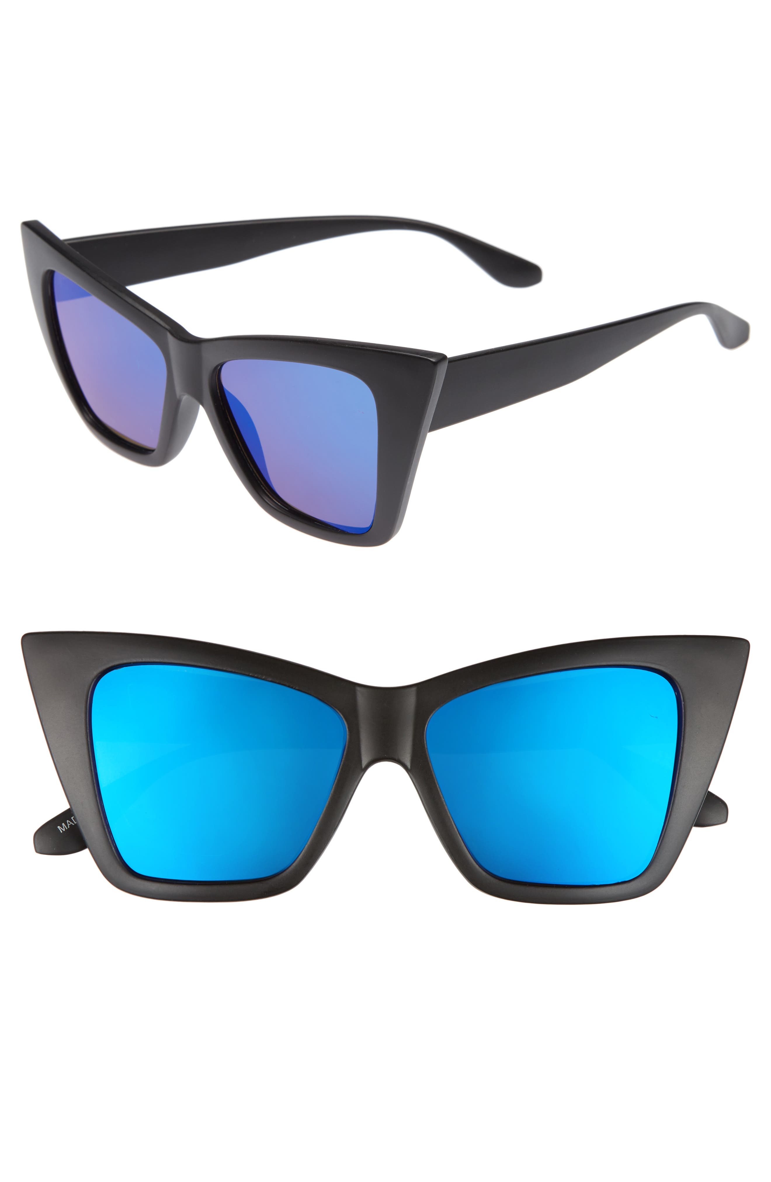 66mm Oversize Cat Eye Sunglasses,                             Main thumbnail 1, color,                             001