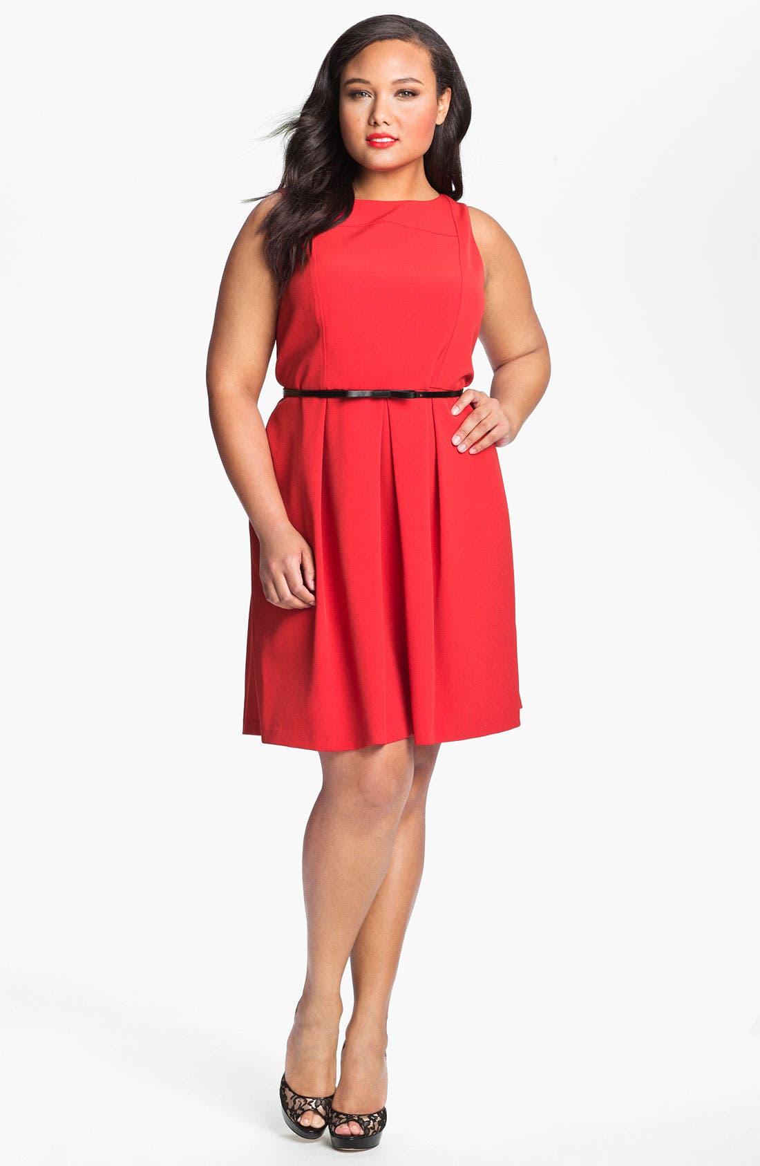 Belted A-Line Dress,                         Main,                         color, 600