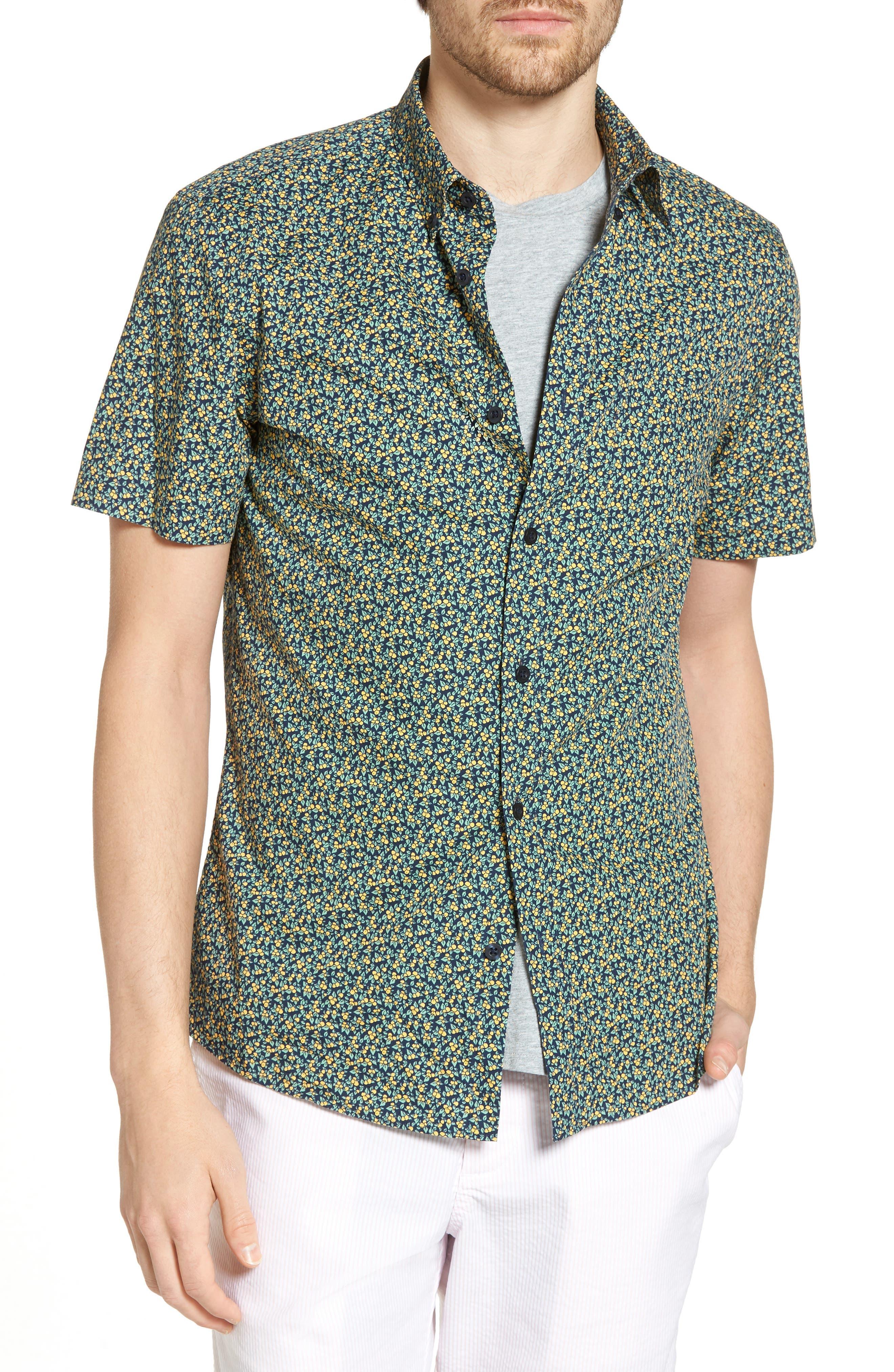 Trim Fit Lemon Print Sport Shirt,                         Main,                         color, 410