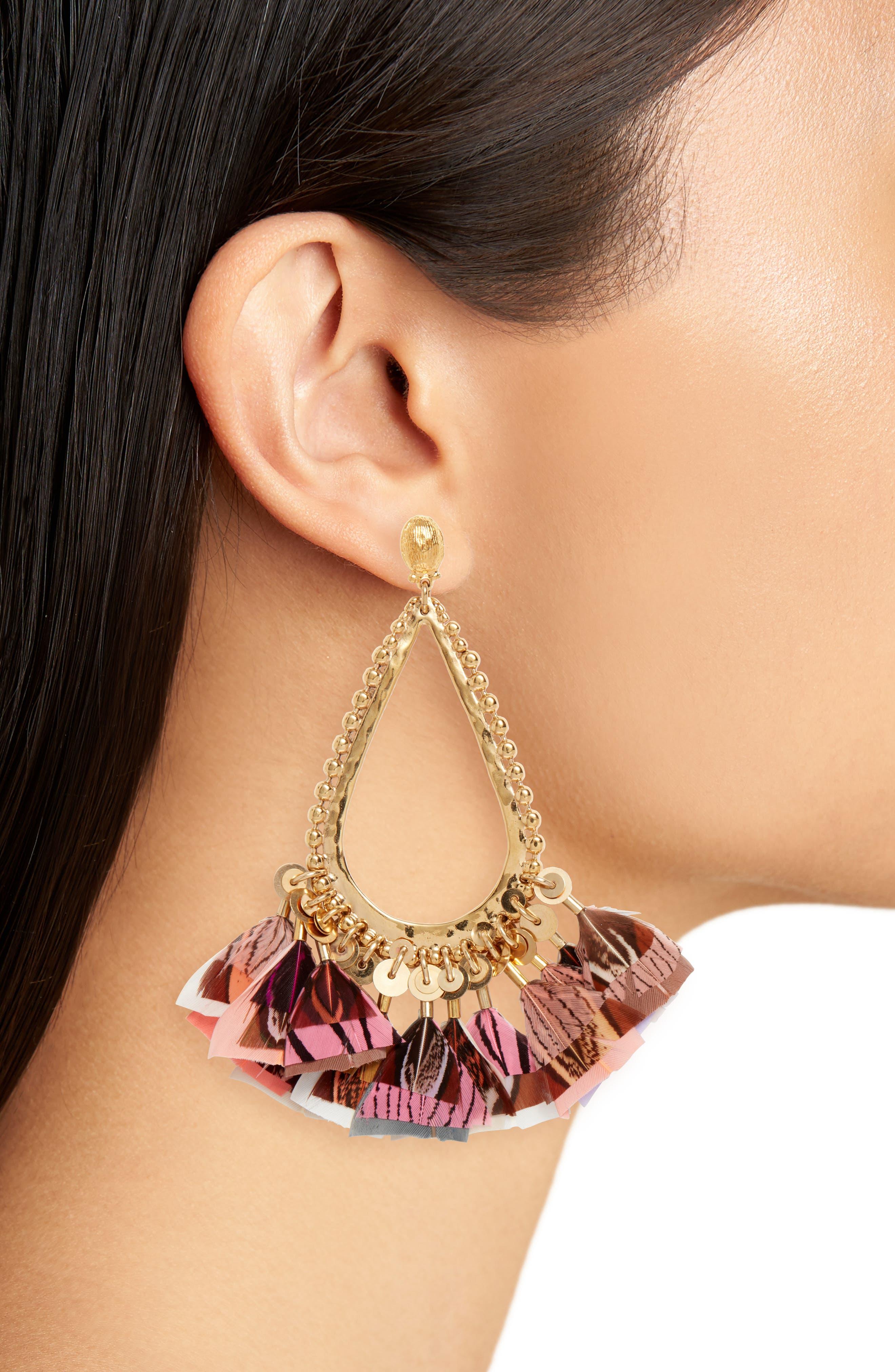 Bibi Feather Teardrop Earrings,                             Alternate thumbnail 2, color,                             PINK