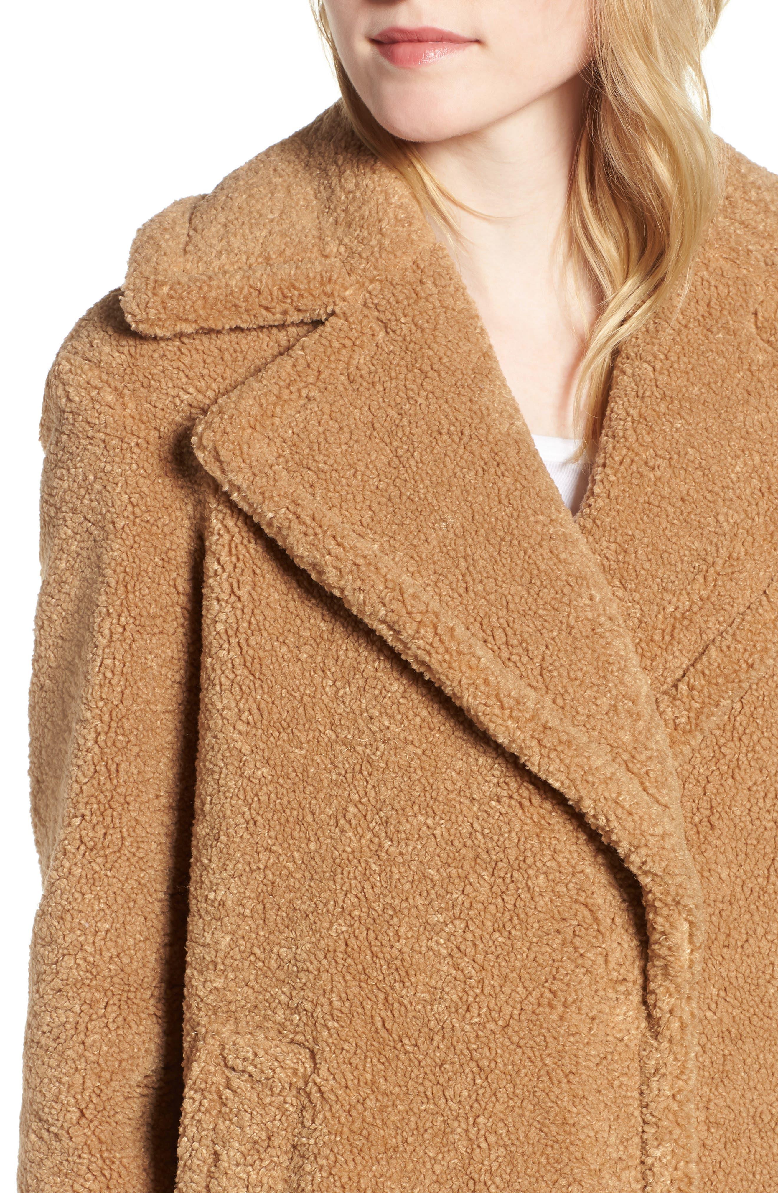 Faux Fur Teddy Bear Coat,                             Alternate thumbnail 4, color,                             256