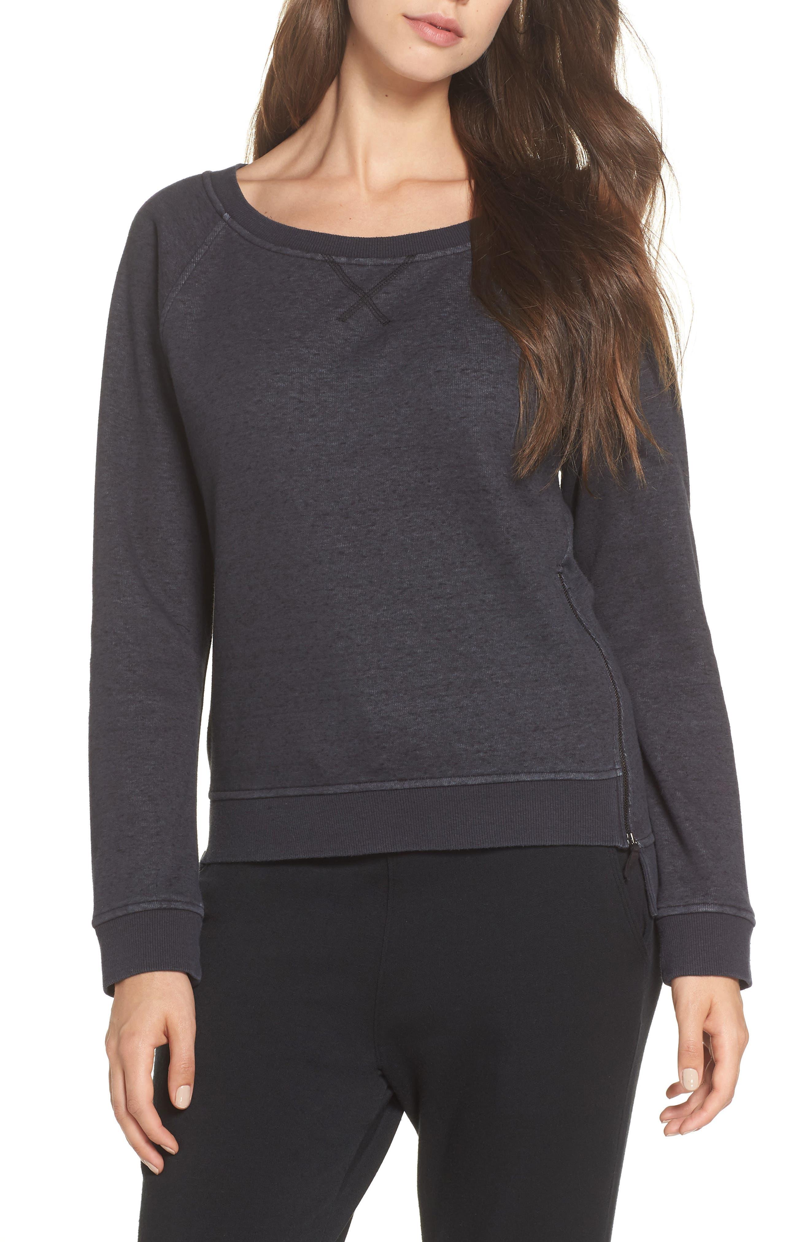 Morgan Sweatshirt,                         Main,                         color, BLACK HEATHER