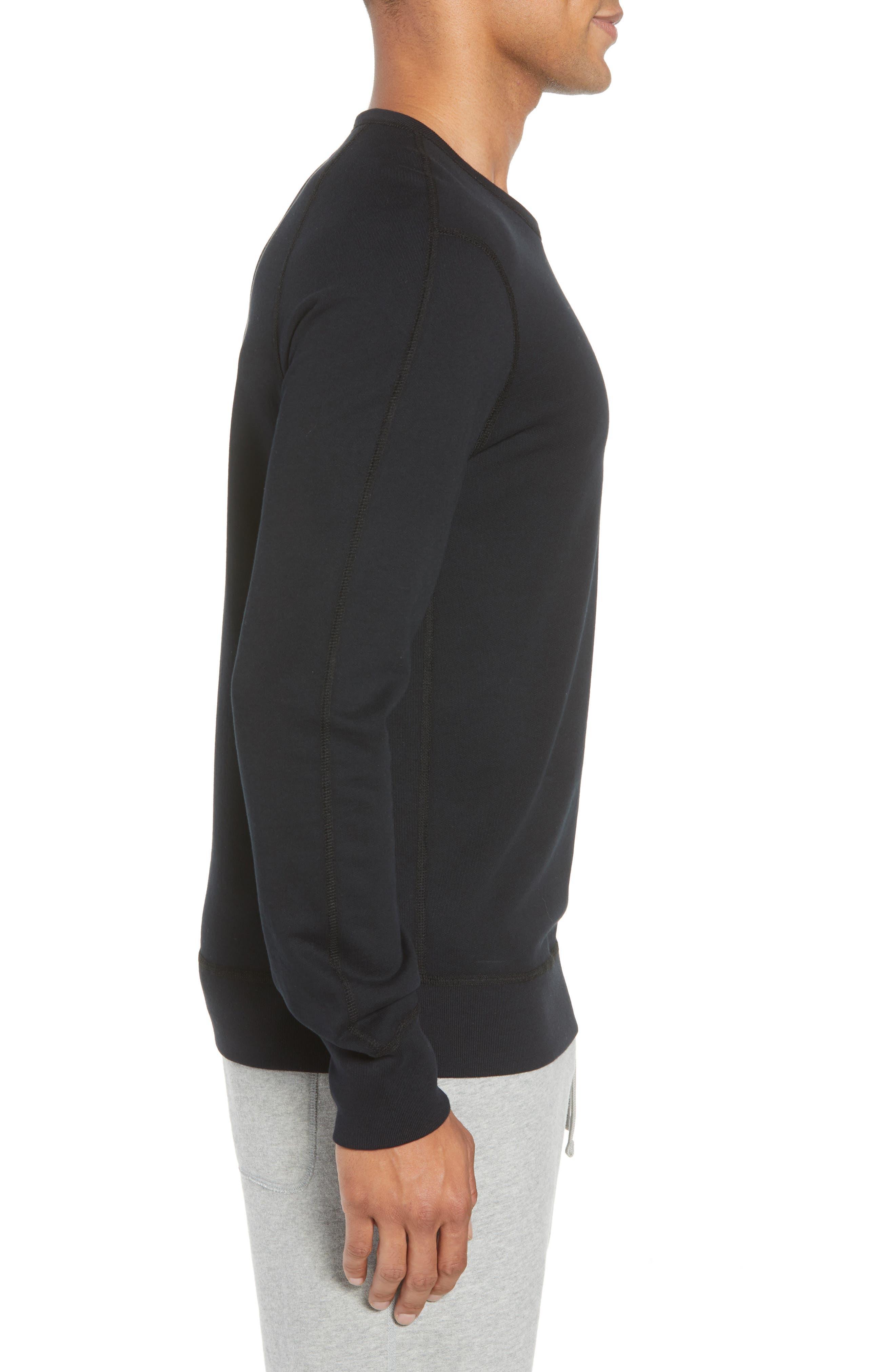 Lightweight Classic Fit Sweatshirt,                             Alternate thumbnail 3, color,                             BLACK