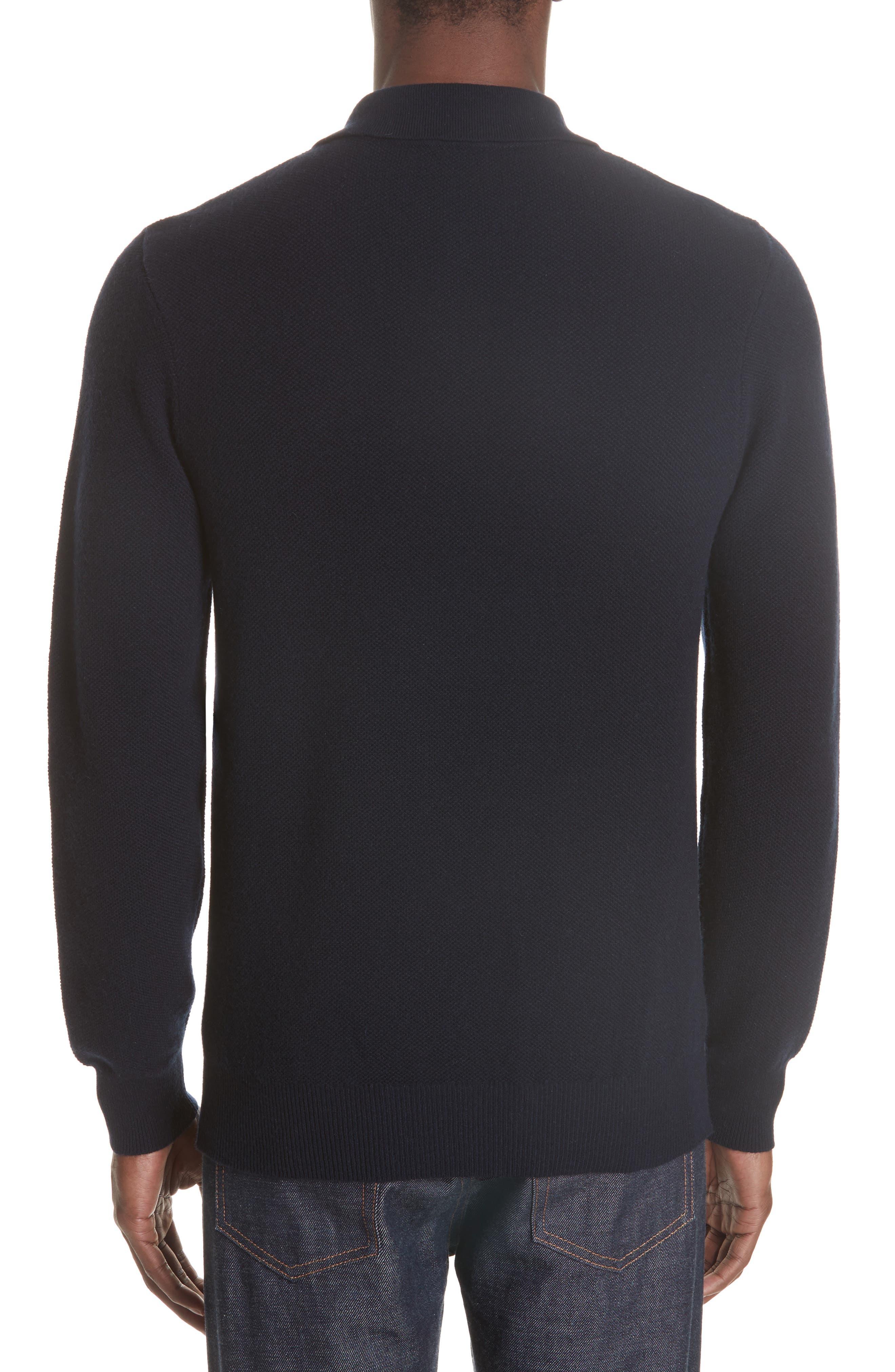Wool & Cashmere Long Sleeve Polo,                             Alternate thumbnail 2, color,                             IAK NAVY
