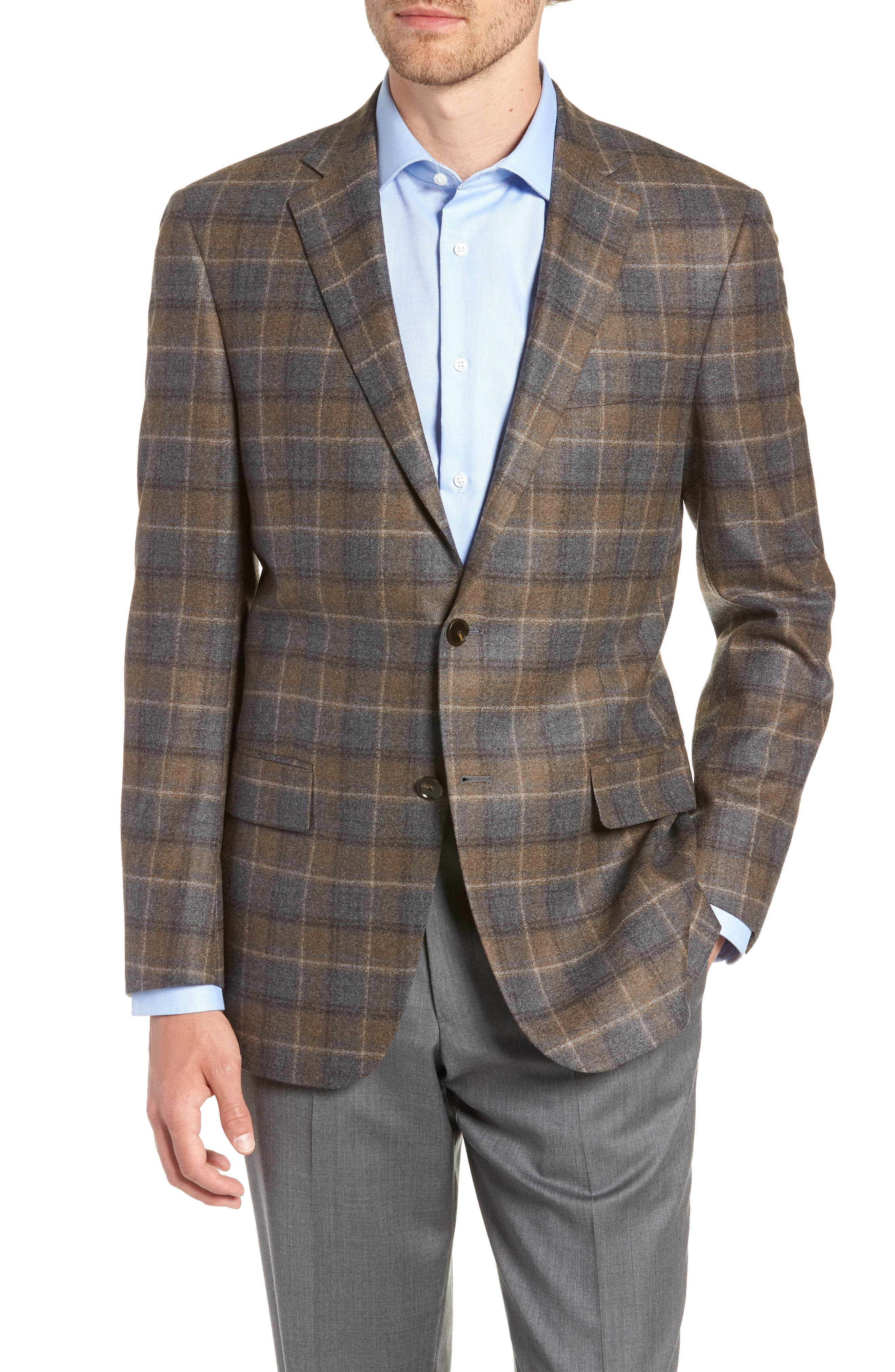 HART SCHAFFNER MARX Classic Fit Plaid Wool Sport Coat, Main, color, BROWN