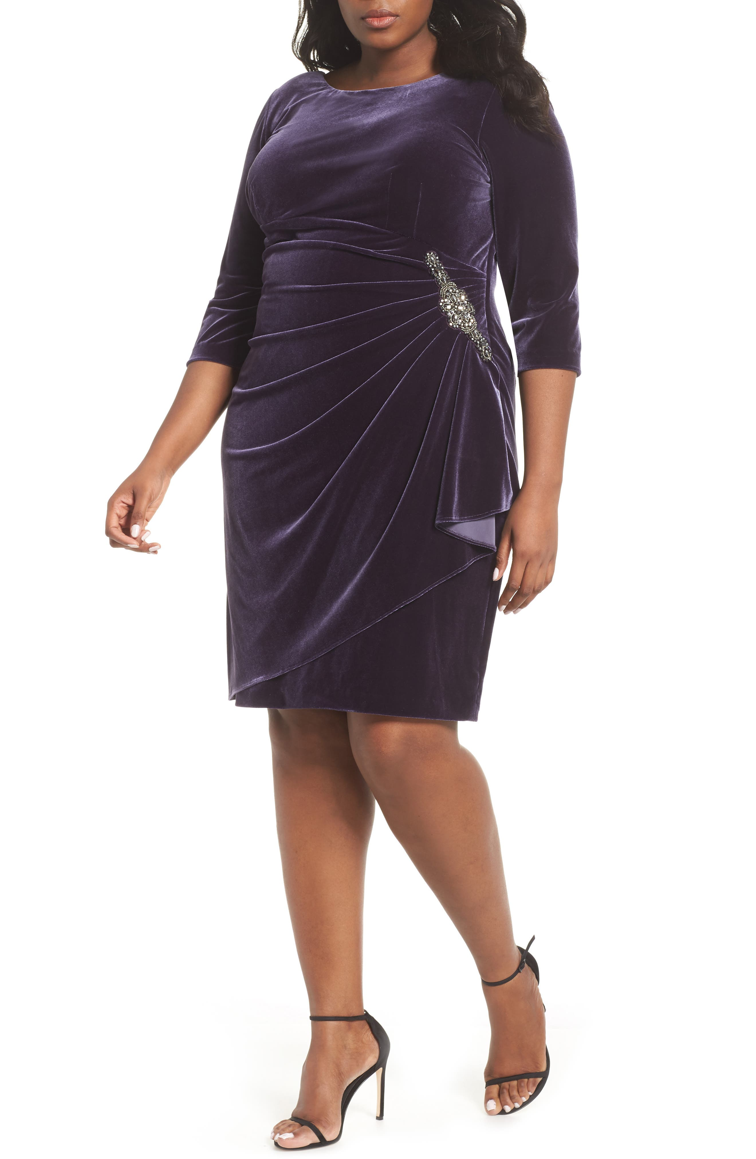1940s Plus Size Fashion: Style Advice from 1940s to Today Plus Size Womens Alex Evening Velvet Sheath Dress $169.00 AT vintagedancer.com
