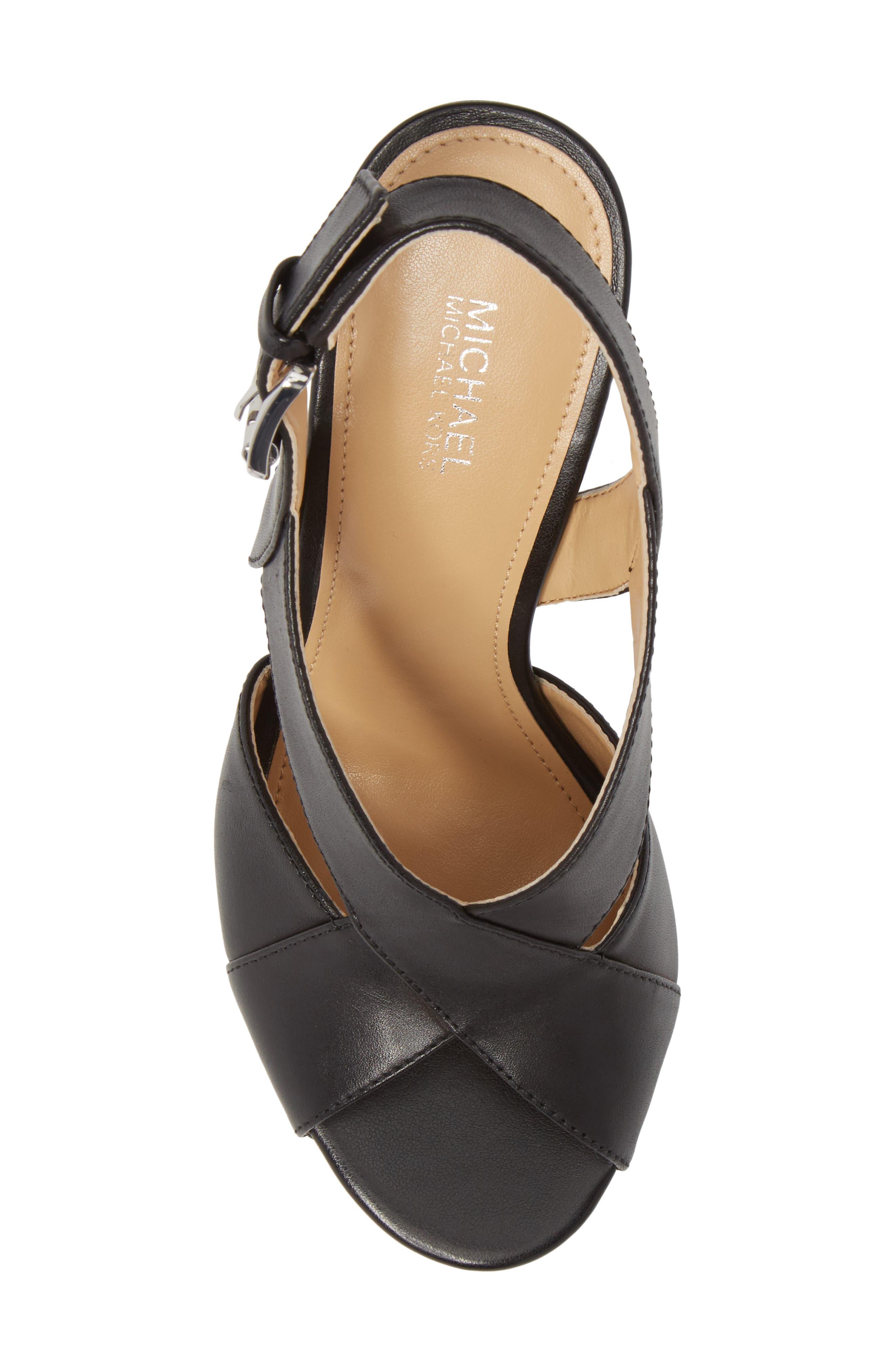 Becky Cross Strap Sandal,                             Alternate thumbnail 5, color,                             BLACK LEATHER