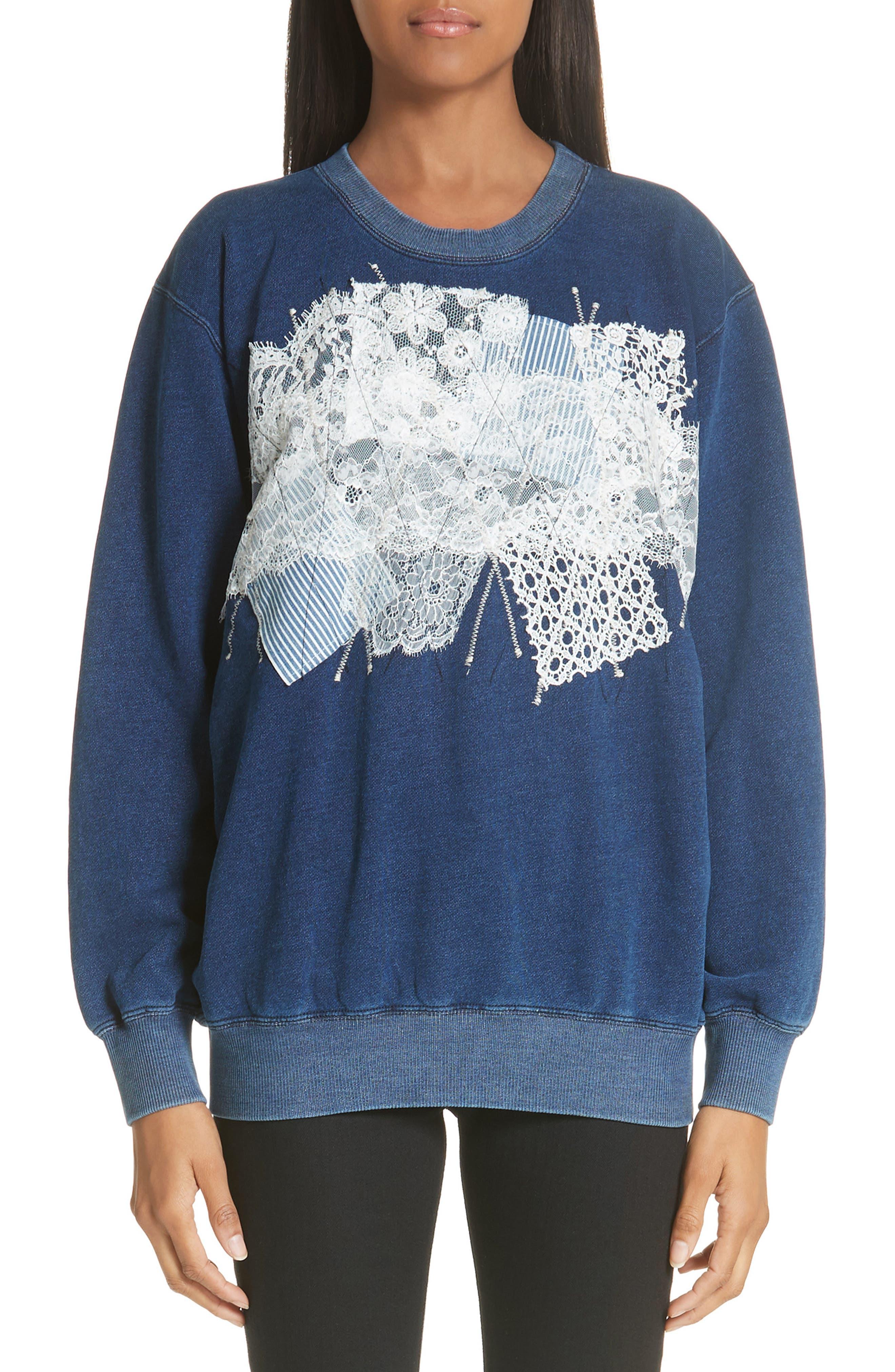 Lace Patch Sweatshirt,                             Main thumbnail 1, color,                             400