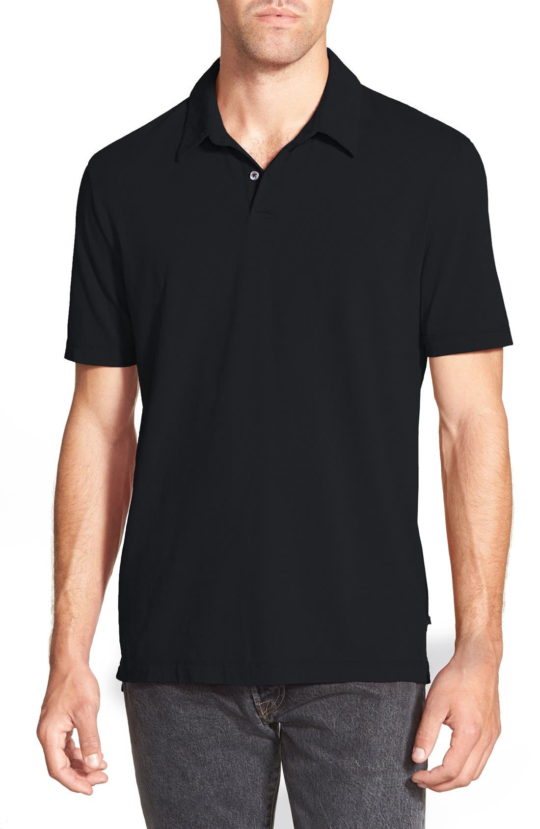 Slim Fit Sueded Jersey Polo,                             Main thumbnail 1, color,                             001