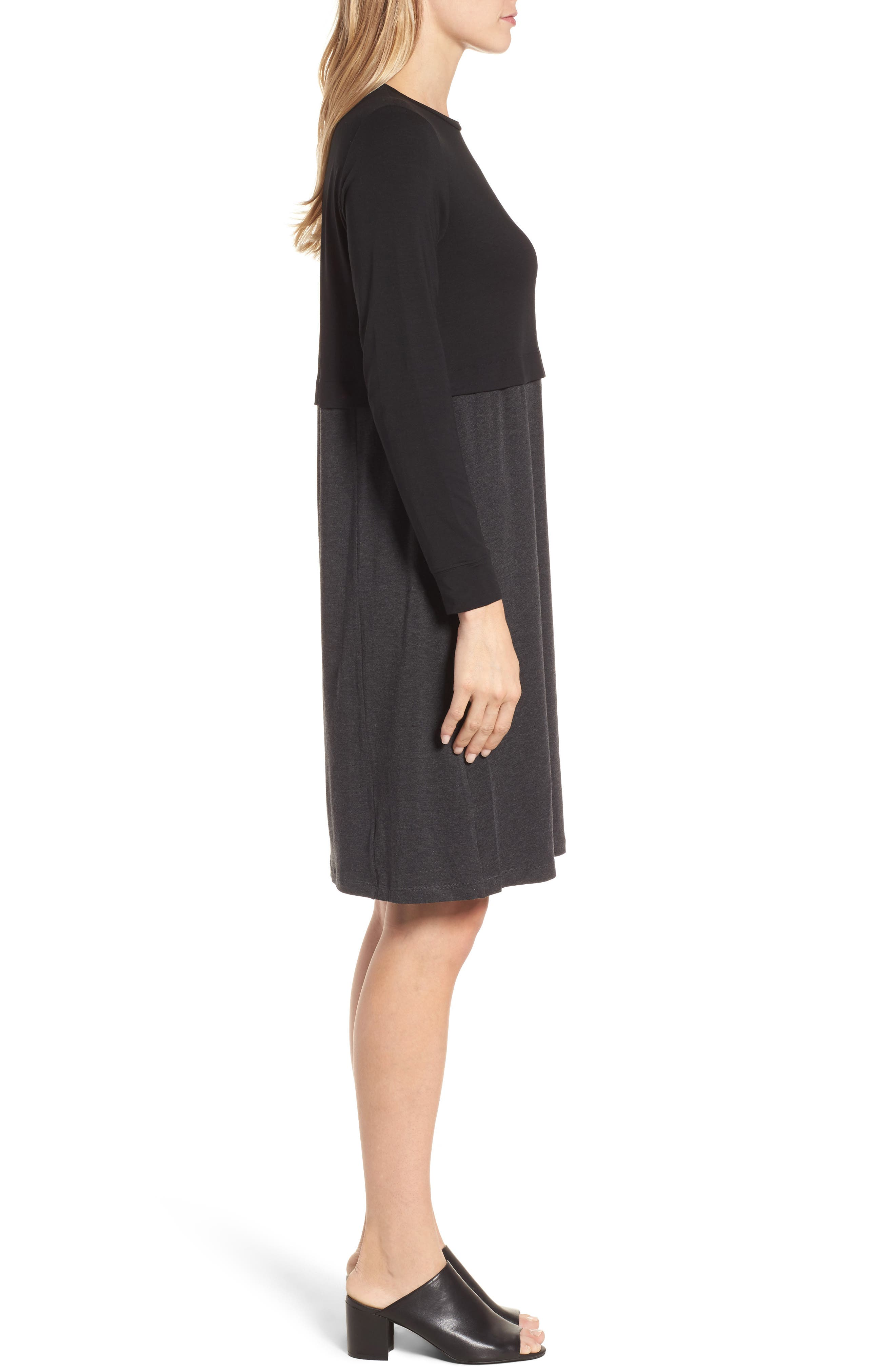 EILEEN FISHER,                             Stretch Tencel<sup>®</sup> A-Line Dress,                             Alternate thumbnail 4, color,                             010