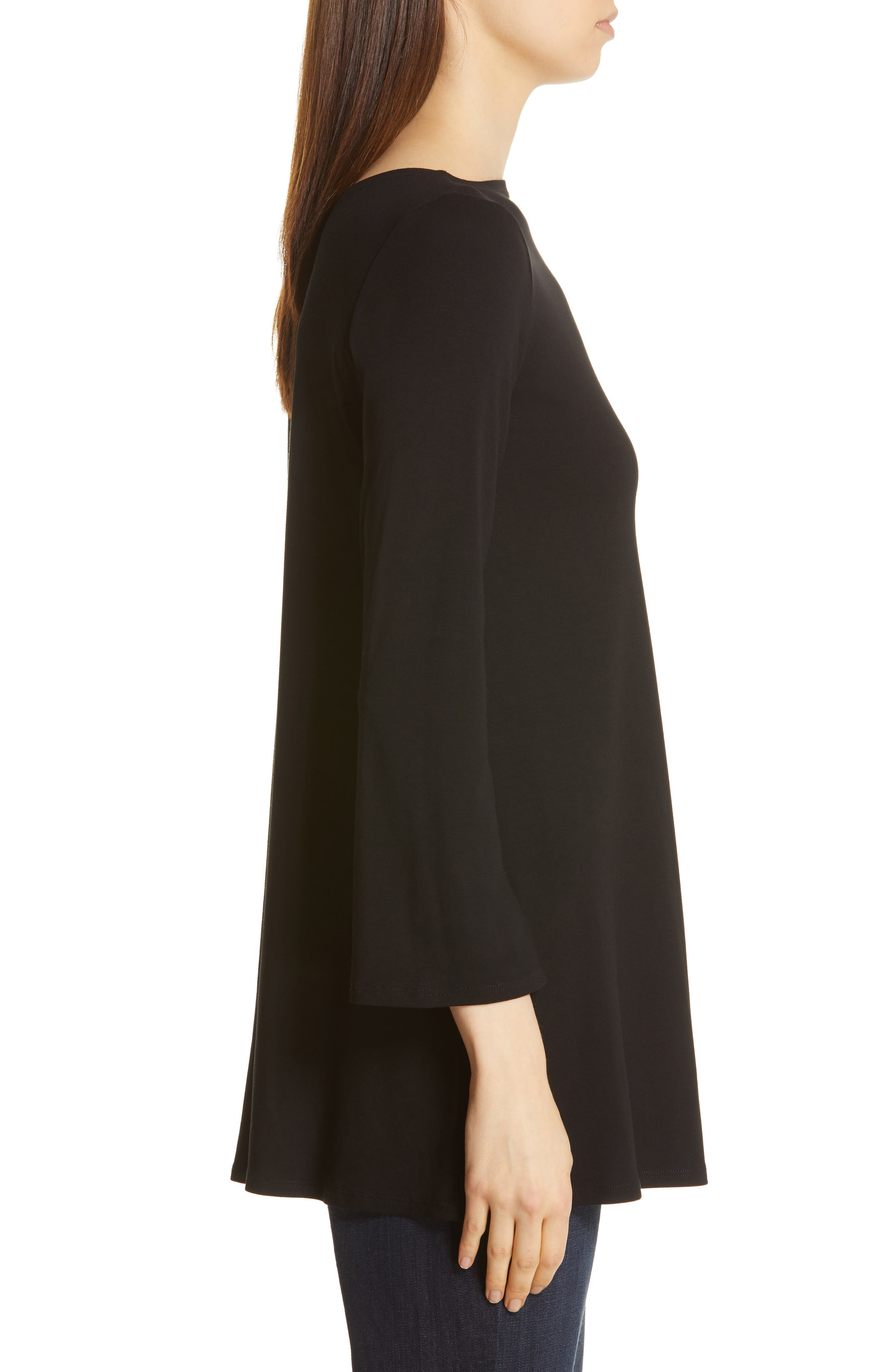 EILEEN FISHER, Jewel Neck Tunic Top, Alternate thumbnail 3, color, 001