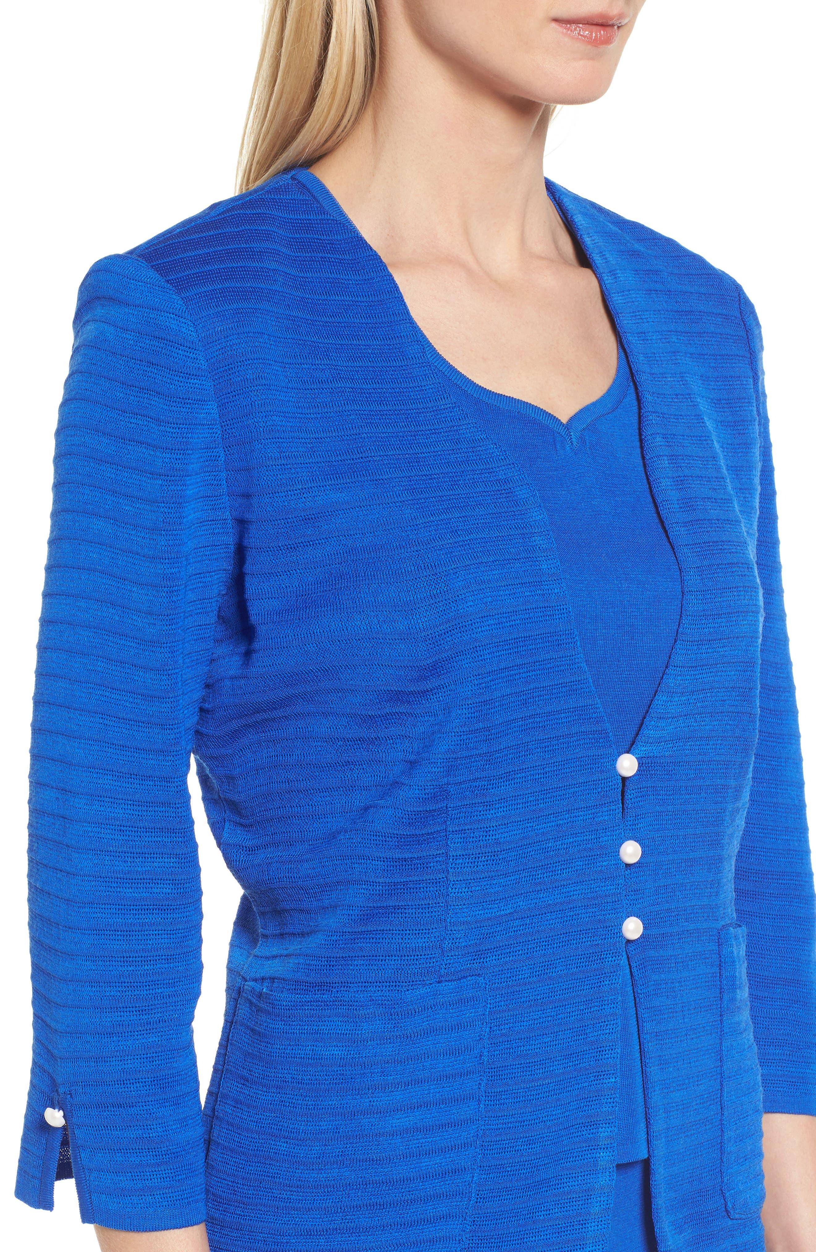 Textured Three Quarter Sleeve Jacket,                             Alternate thumbnail 4, color,                             PATRIOT BLUE