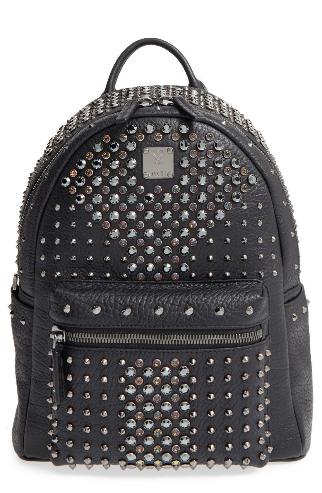 'Small Stark Special' Swarovski Crystal Embellished Leather Backpack, Main, color, 001