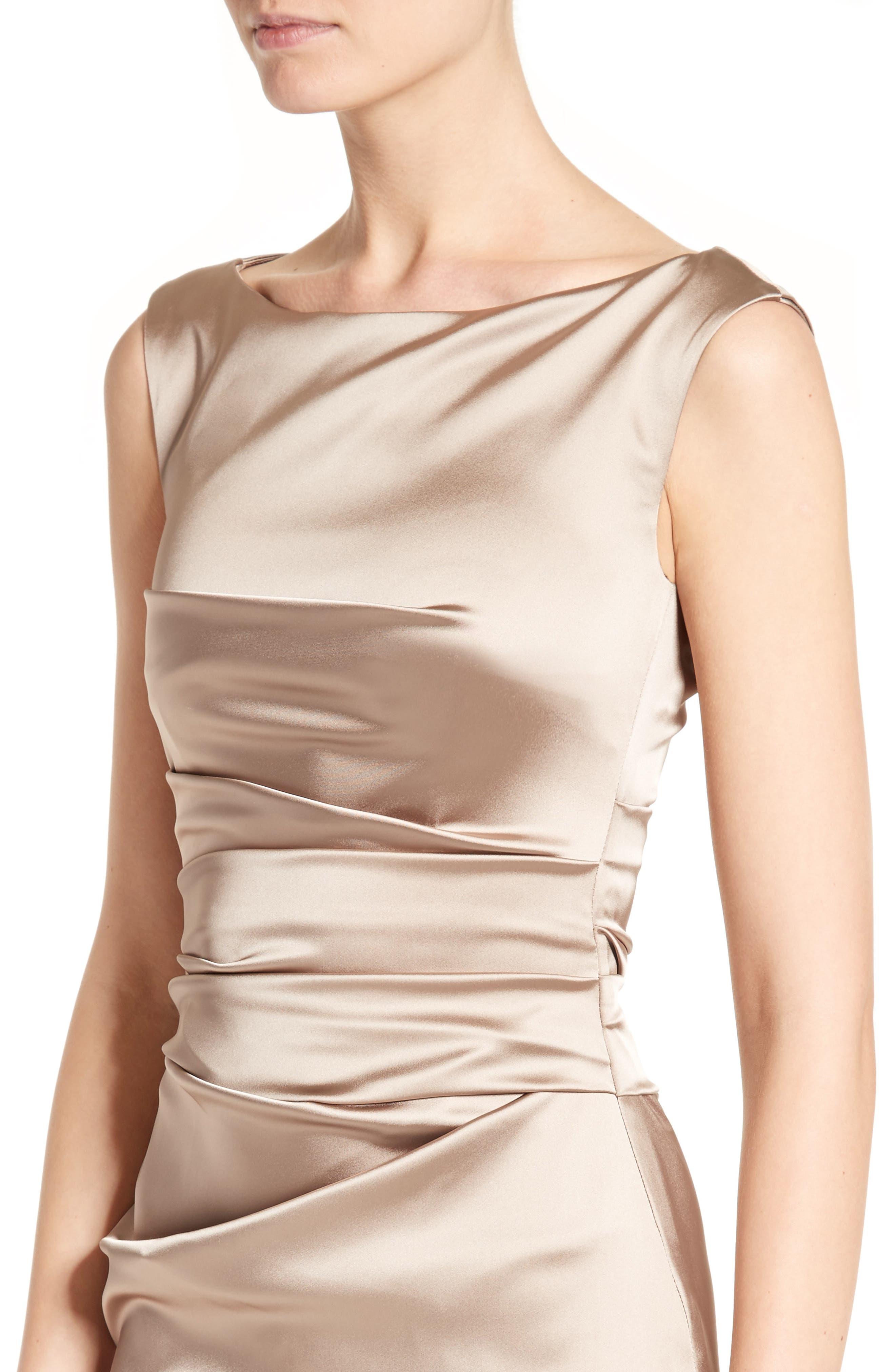 Stretch Satin Sheath Dress,                             Alternate thumbnail 4, color,                             STONE