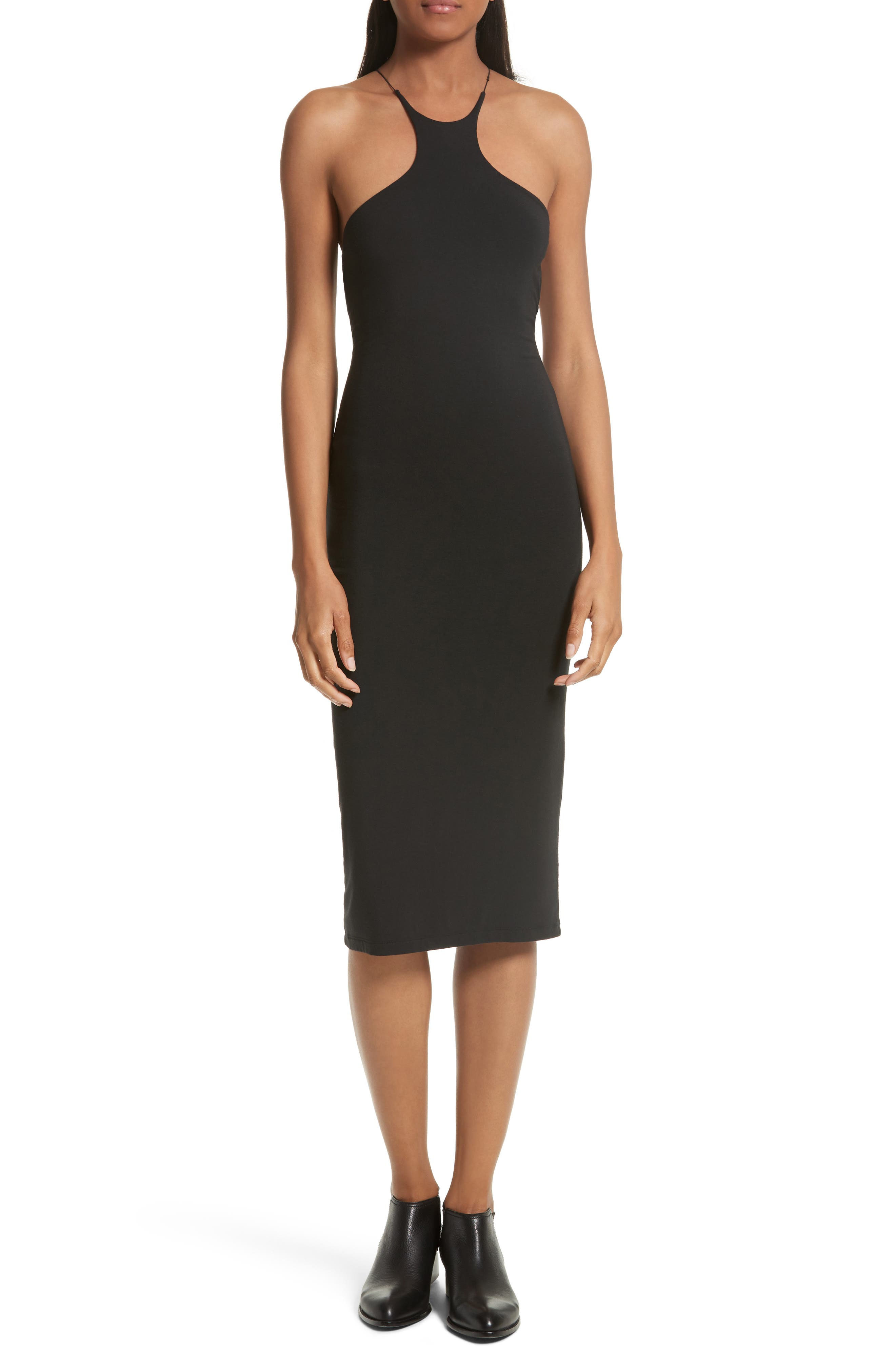 T by Alexander Wang Strappy Jersey Body-Con Dress,                             Main thumbnail 1, color,                             001