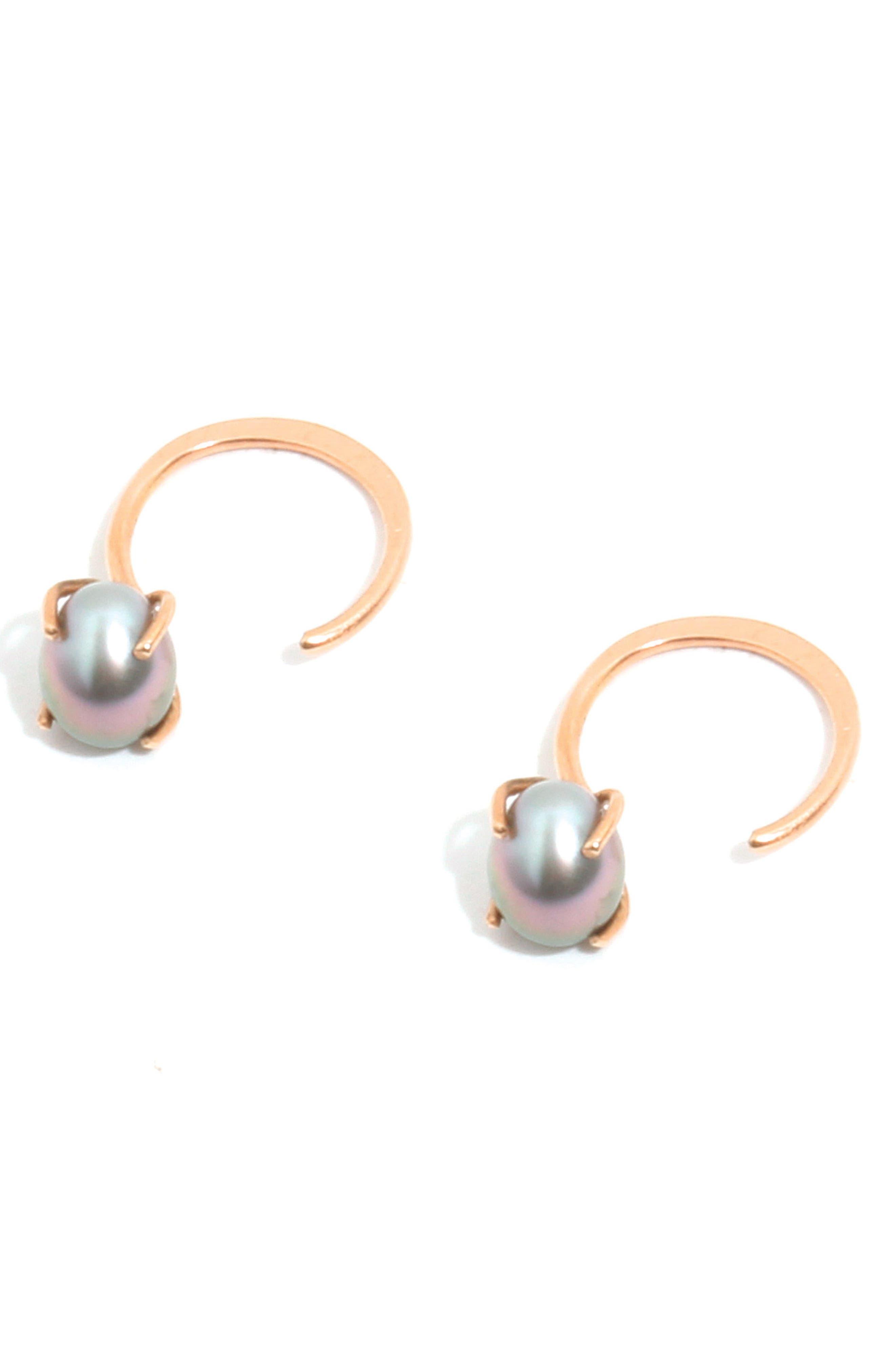 Tahitian Pearl Hoop Earrings,                             Alternate thumbnail 4, color,                             710