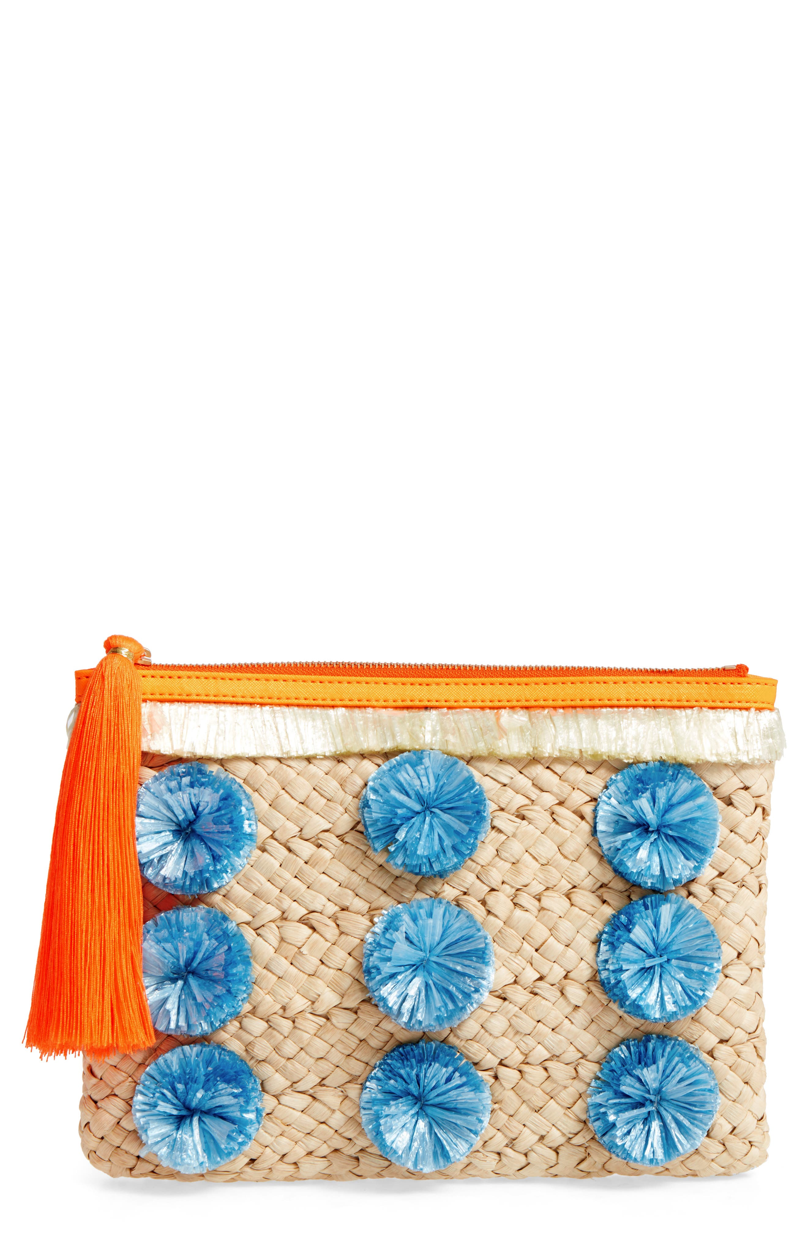 Pompom Straw Clutch,                             Main thumbnail 1, color,                             200