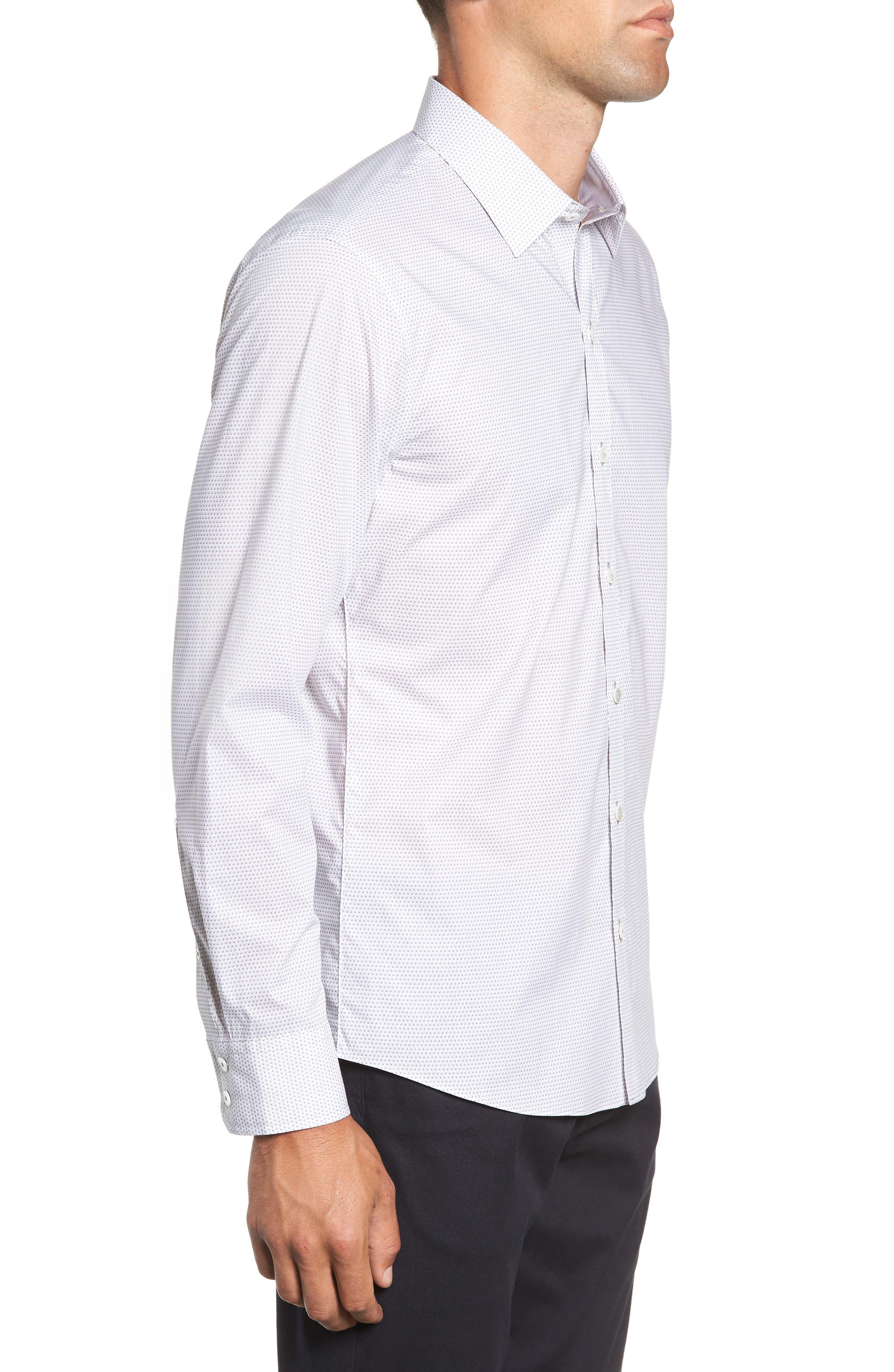 Toledo Regular Fit Microdot Sport Shirt,                             Alternate thumbnail 4, color,                             WHITE