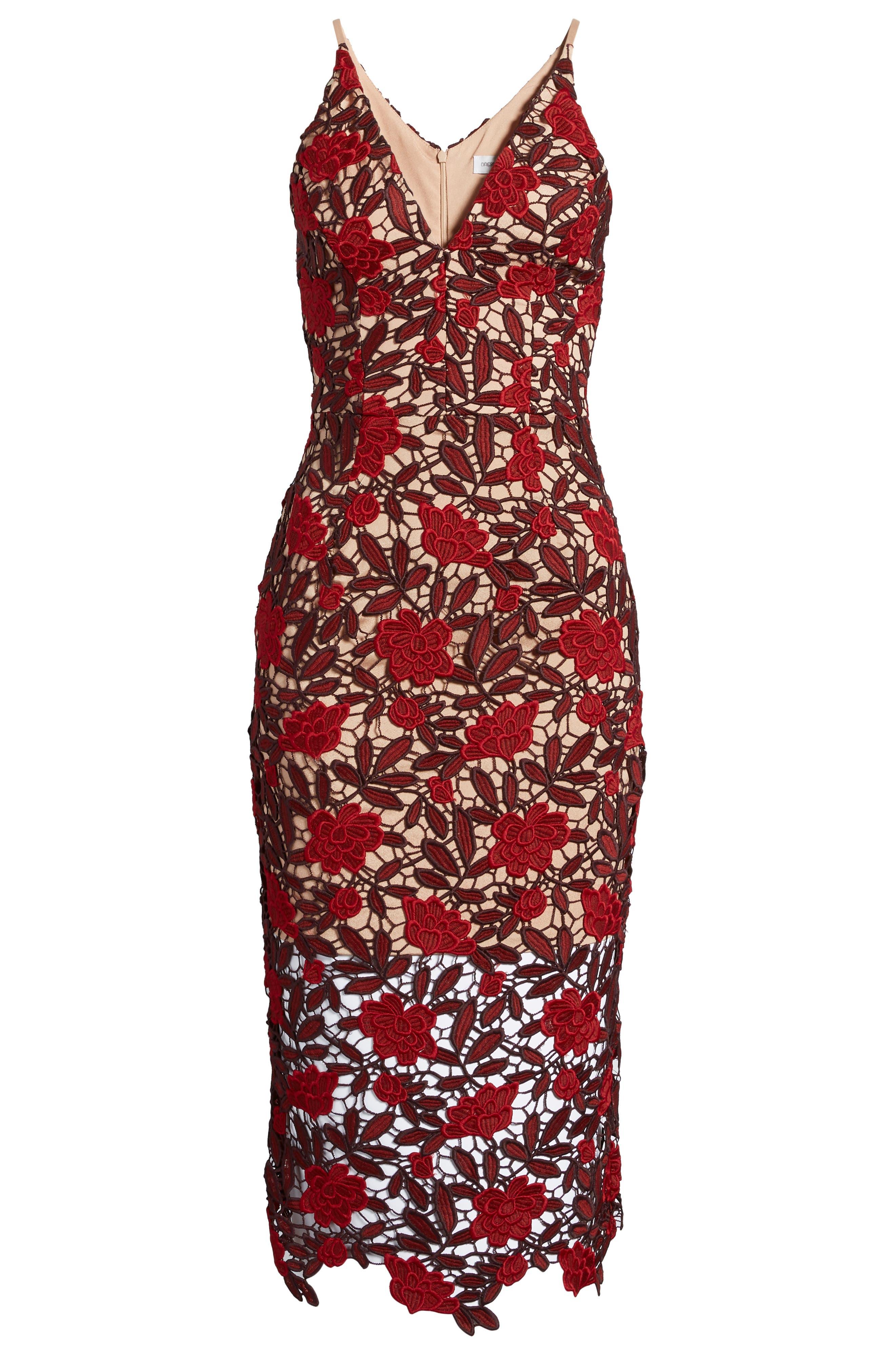 Aurora Embroidered Sheath Dress,                             Alternate thumbnail 8, color,                             GARNET/ NUDE