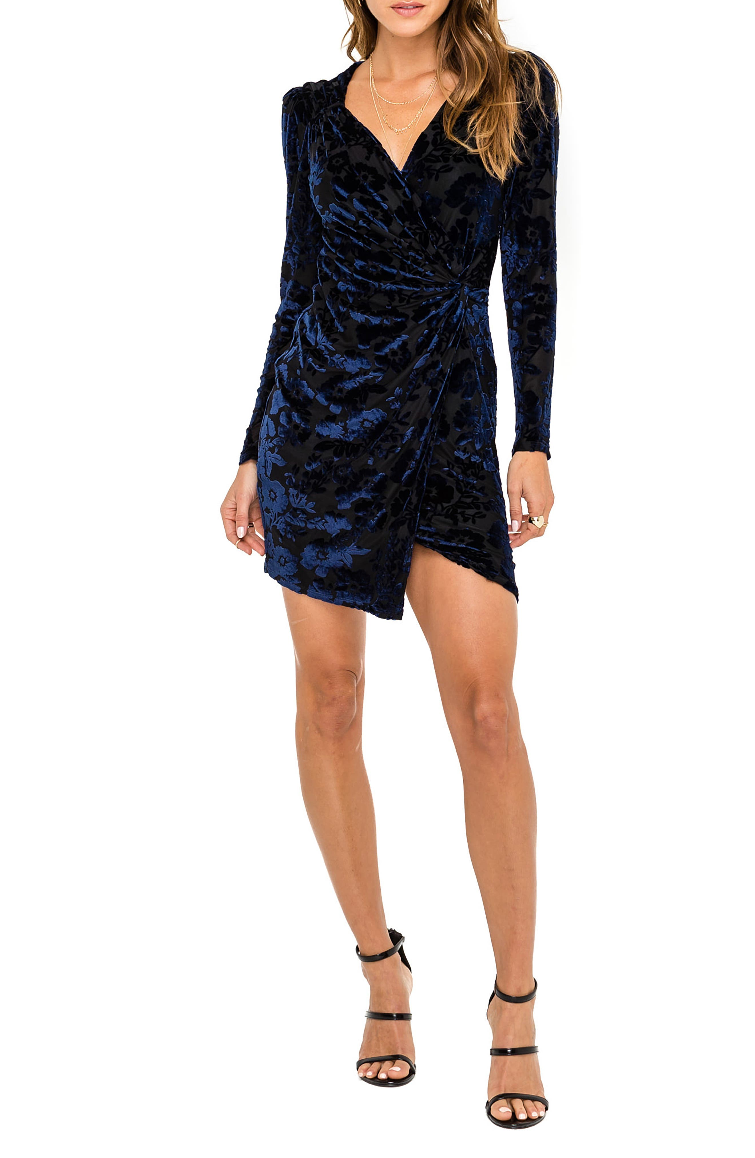 Astr The Label Faux Wrap Dress, Black