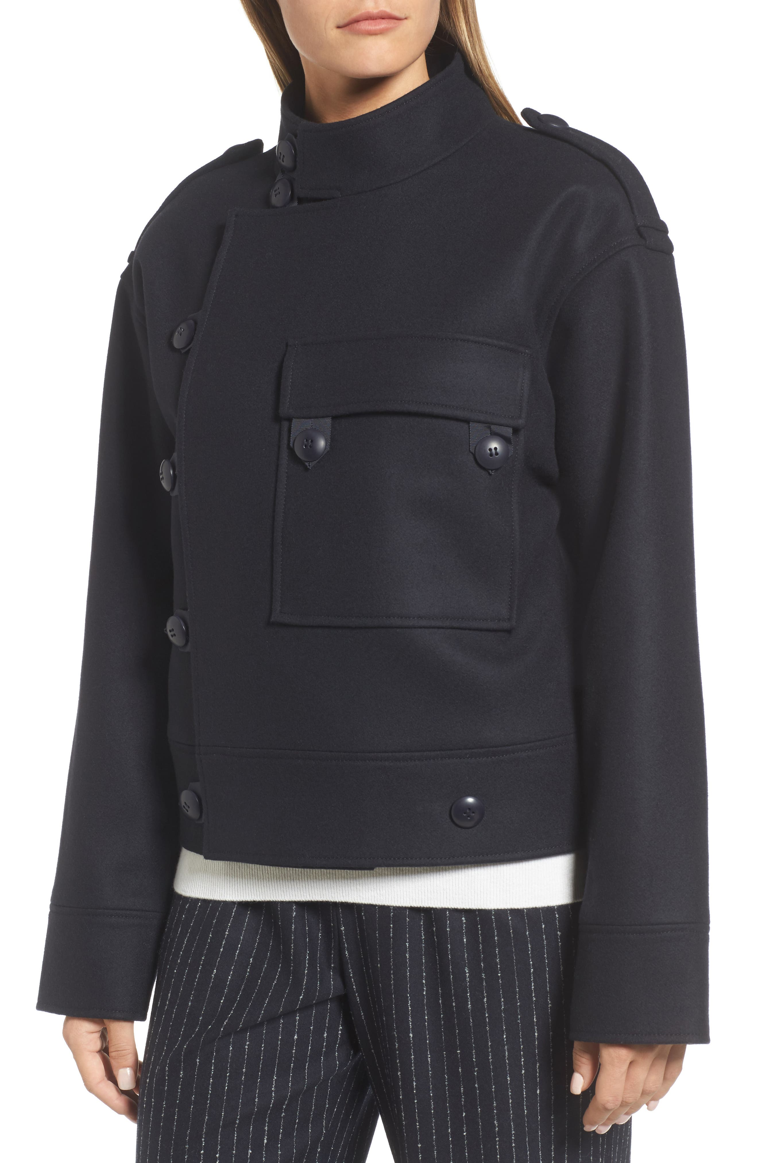Wool Sculpted Jacket,                             Alternate thumbnail 4, color,