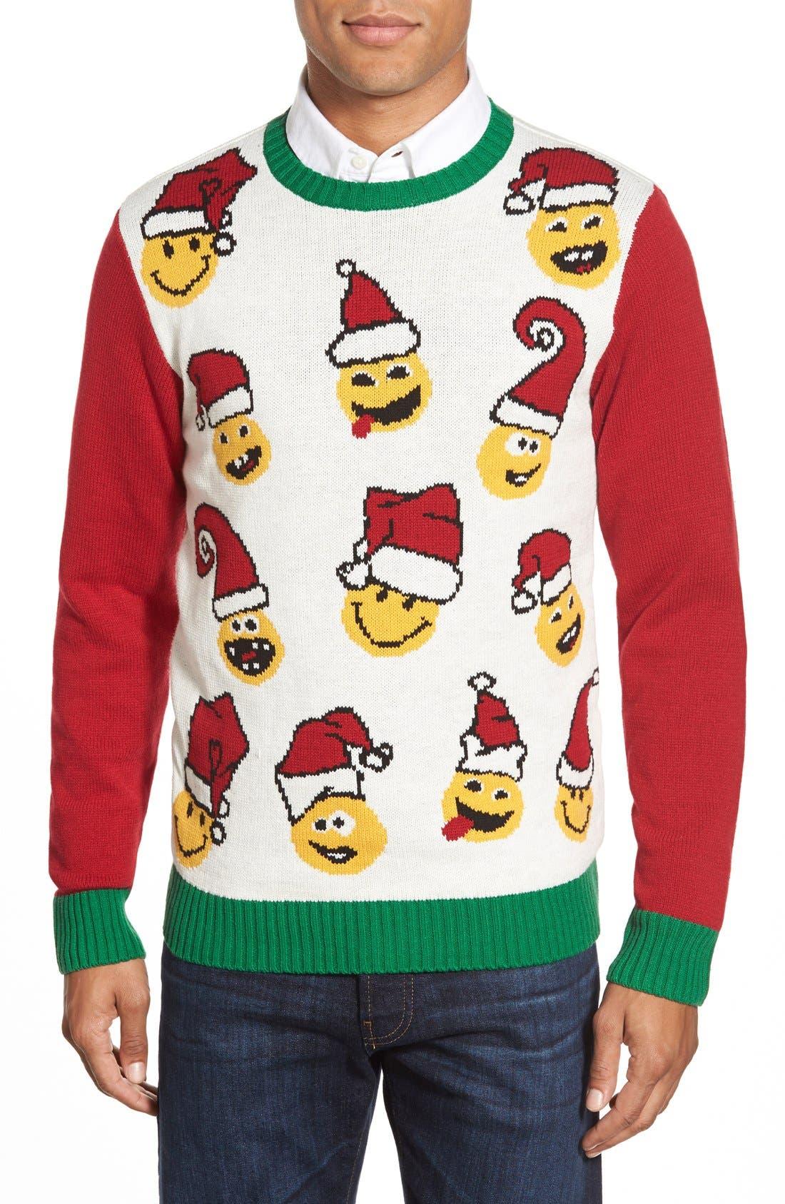 'Emoji Faces' Holiday Crewneck Sweater,                             Main thumbnail 1, color,