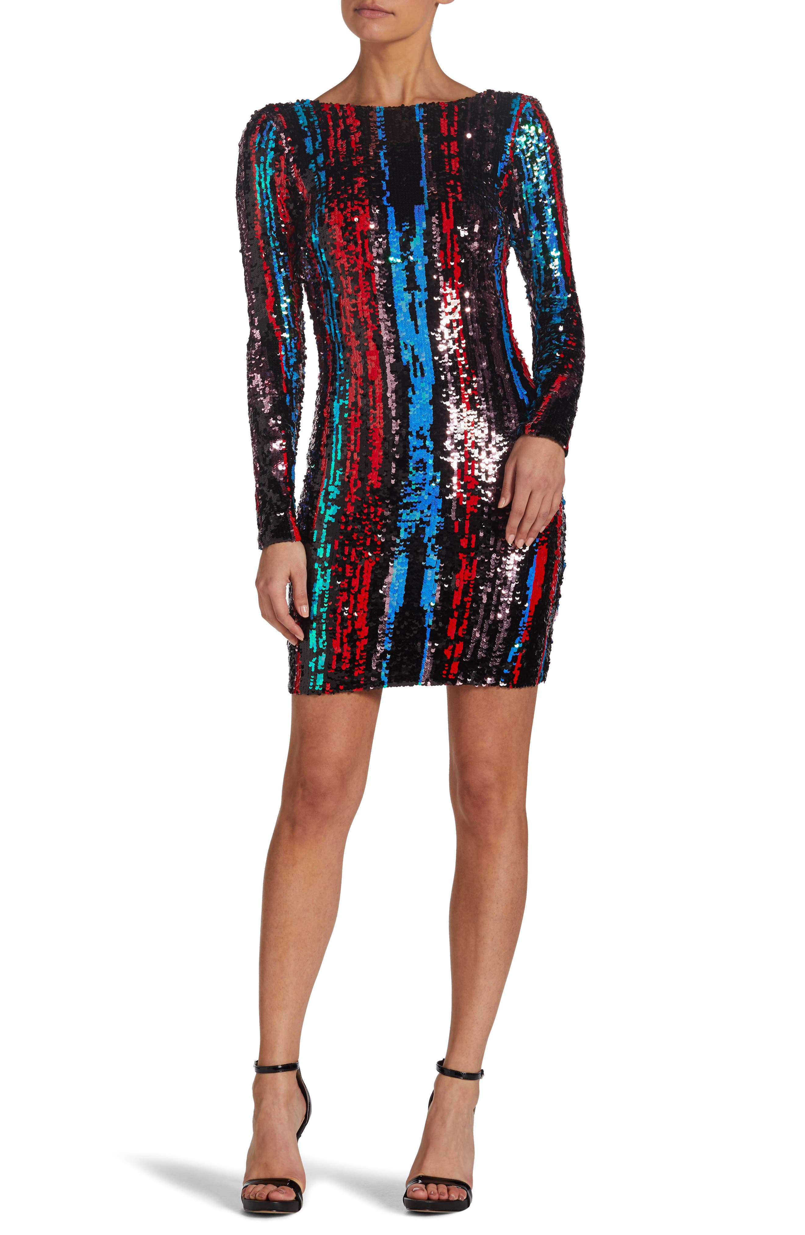 Lola Sequin Body-Con Dress,                             Main thumbnail 1, color,                             ROUGE RED MULTI