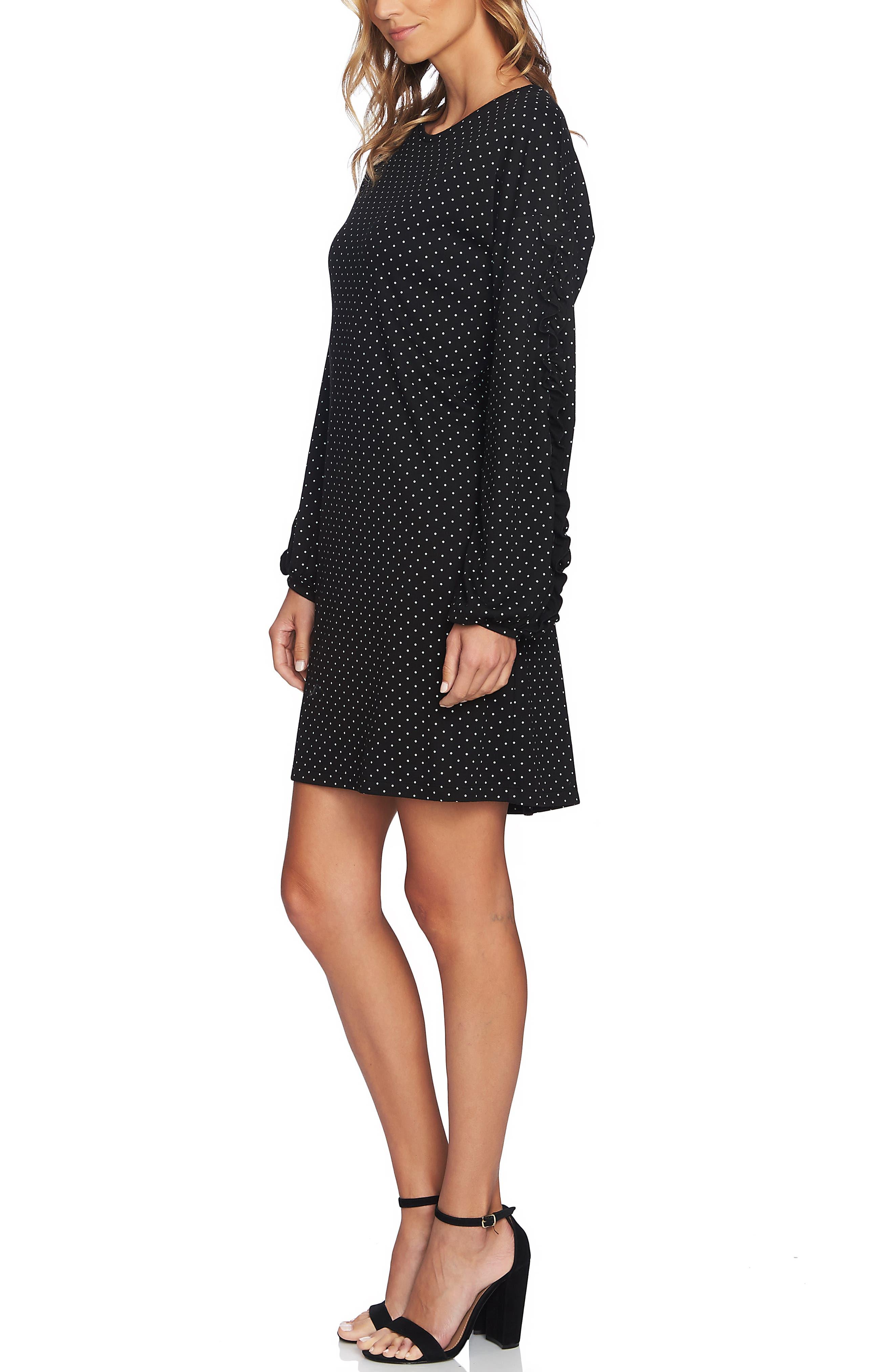 Pin Dot Ruffle Sleeve Dress,                             Alternate thumbnail 3, color,                             RICH BLACK