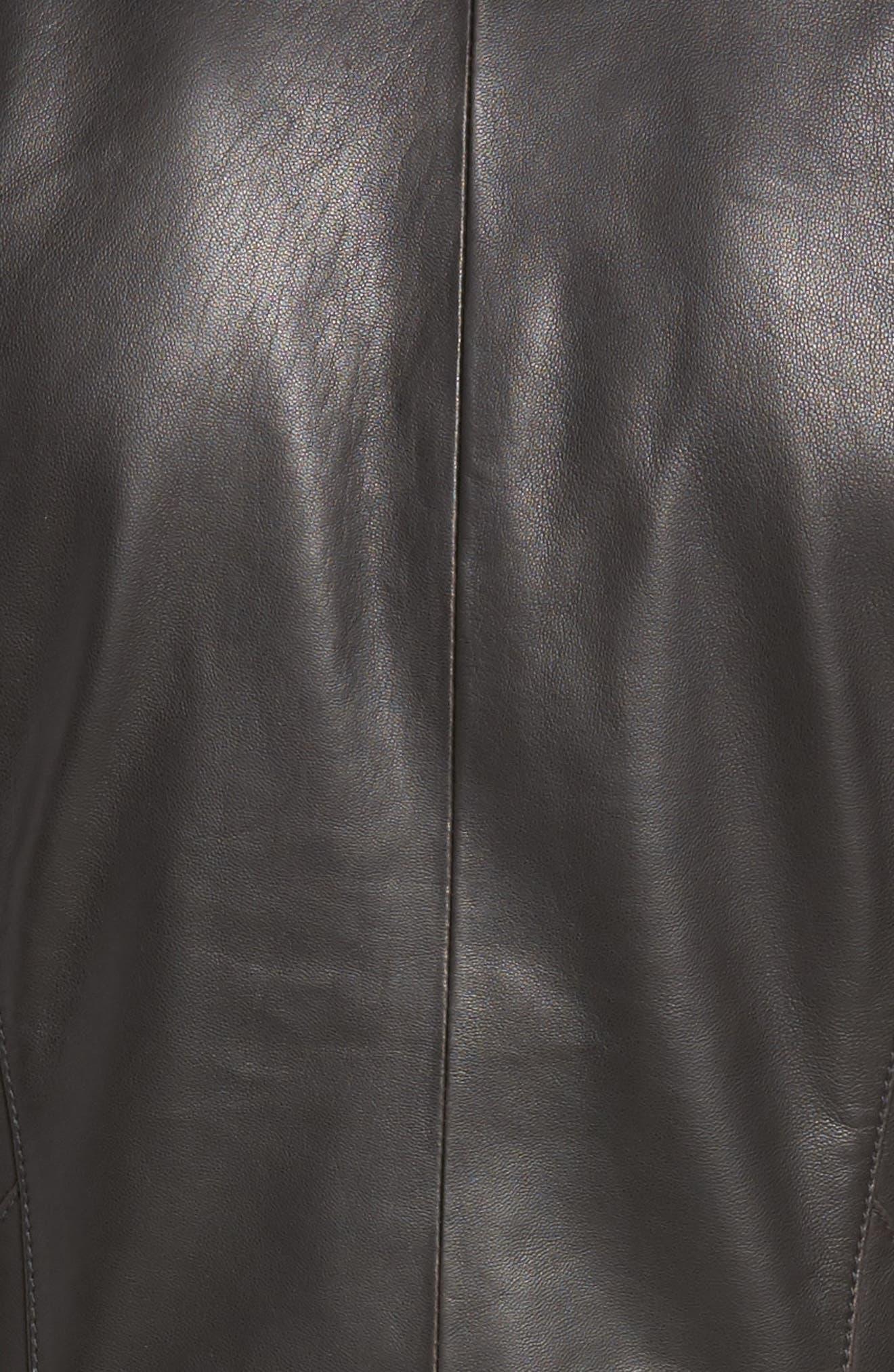 Asymmetrical Leather Jacket,                             Alternate thumbnail 11, color,