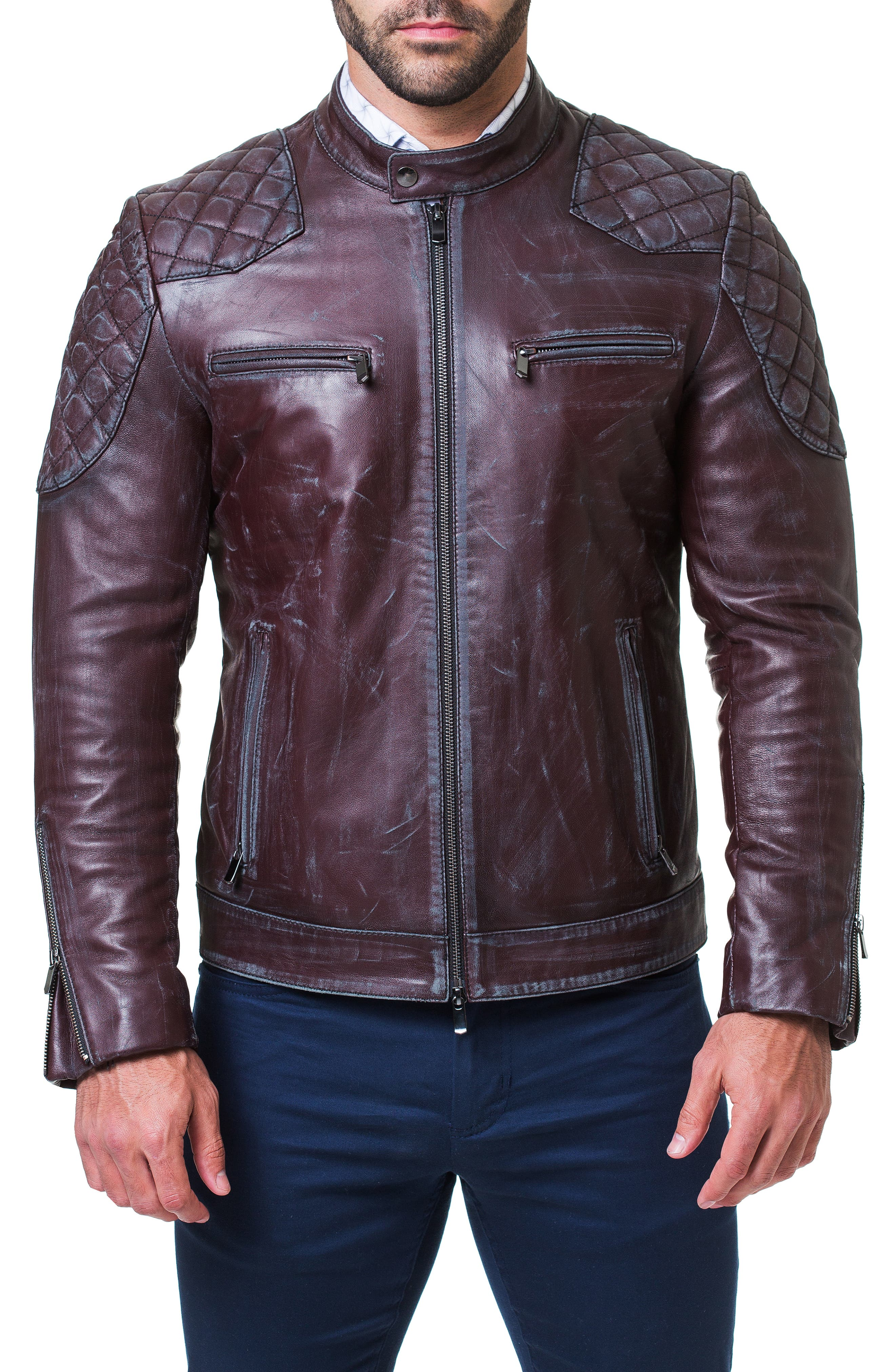 Quilted Leather Jacket,                             Alternate thumbnail 4, color,                             RED