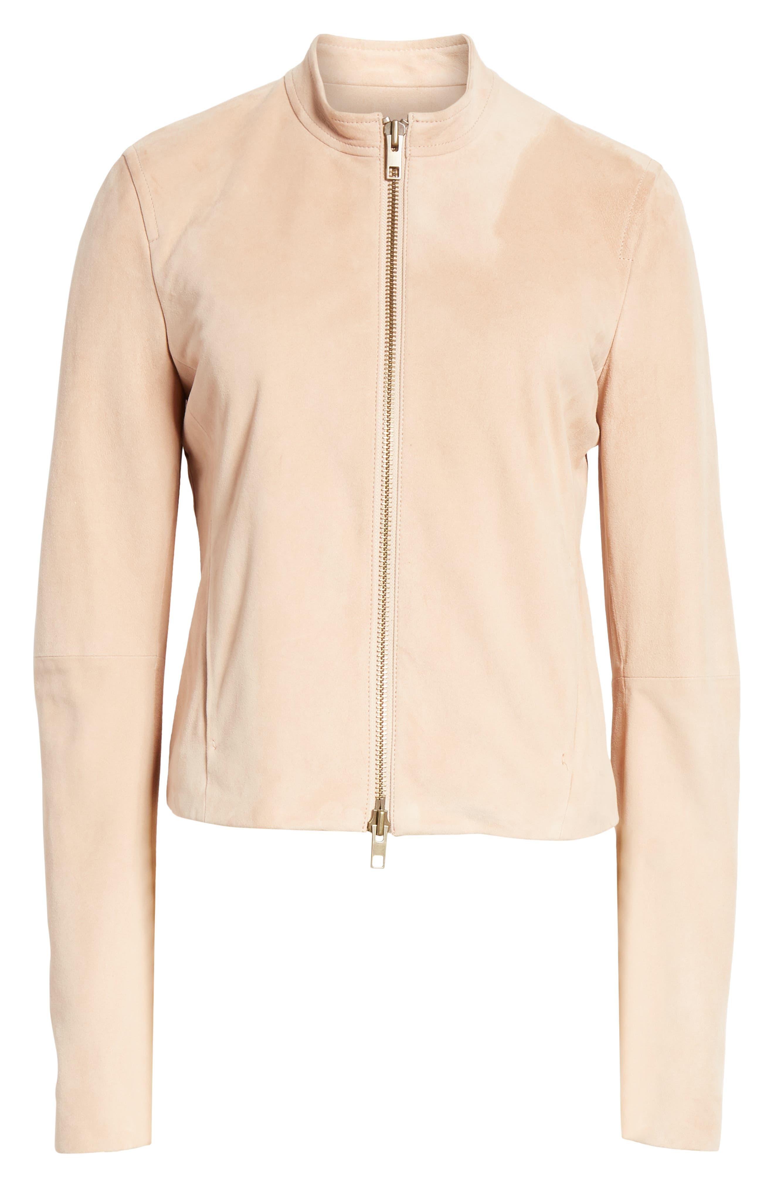 VINCE,                             Suede Moto Jacket,                             Alternate thumbnail 6, color,                             ROSE QUARTZ