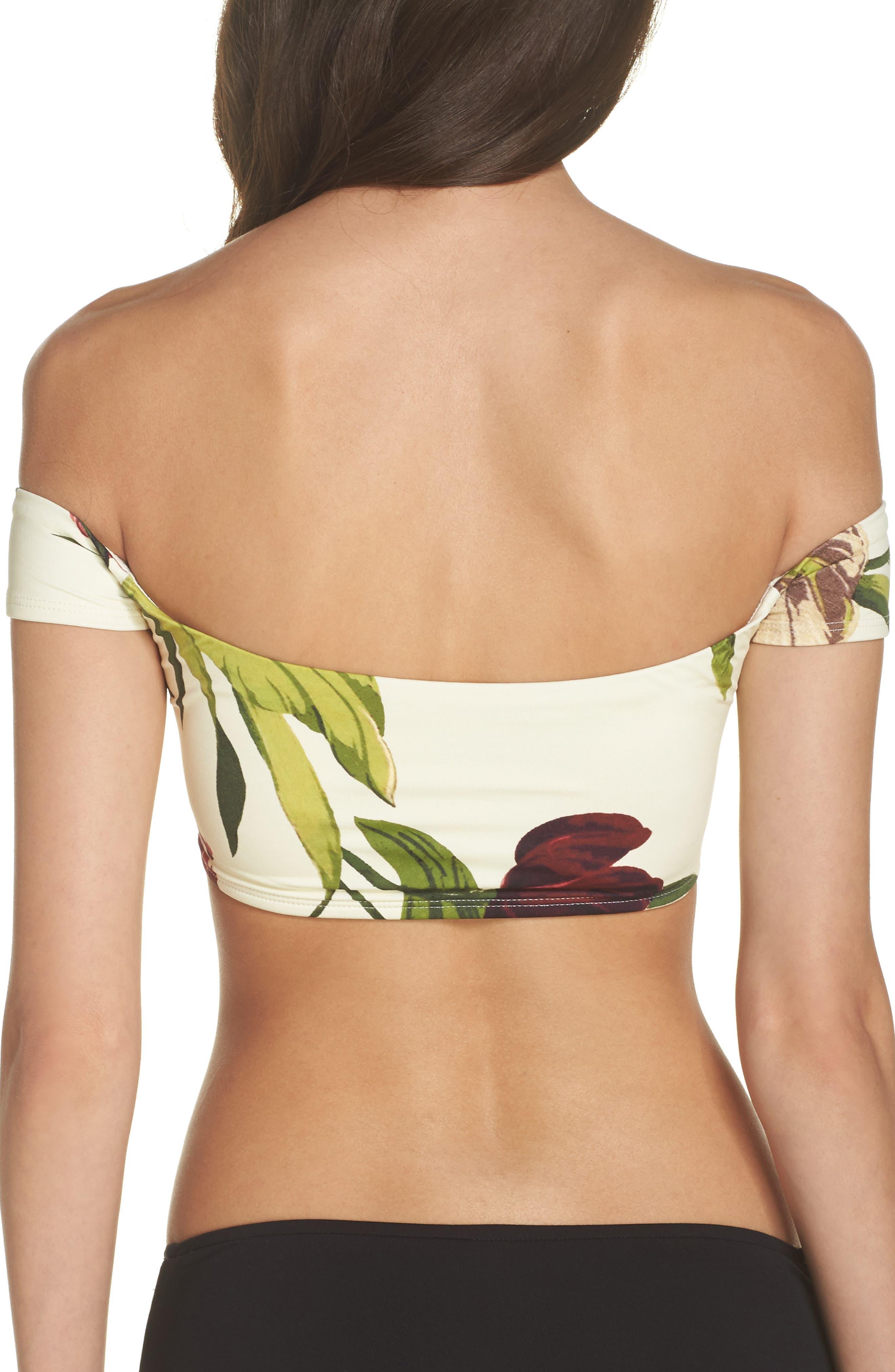Hawaiian Floral Off the Shoulder Bikini Top,                             Alternate thumbnail 2, color,