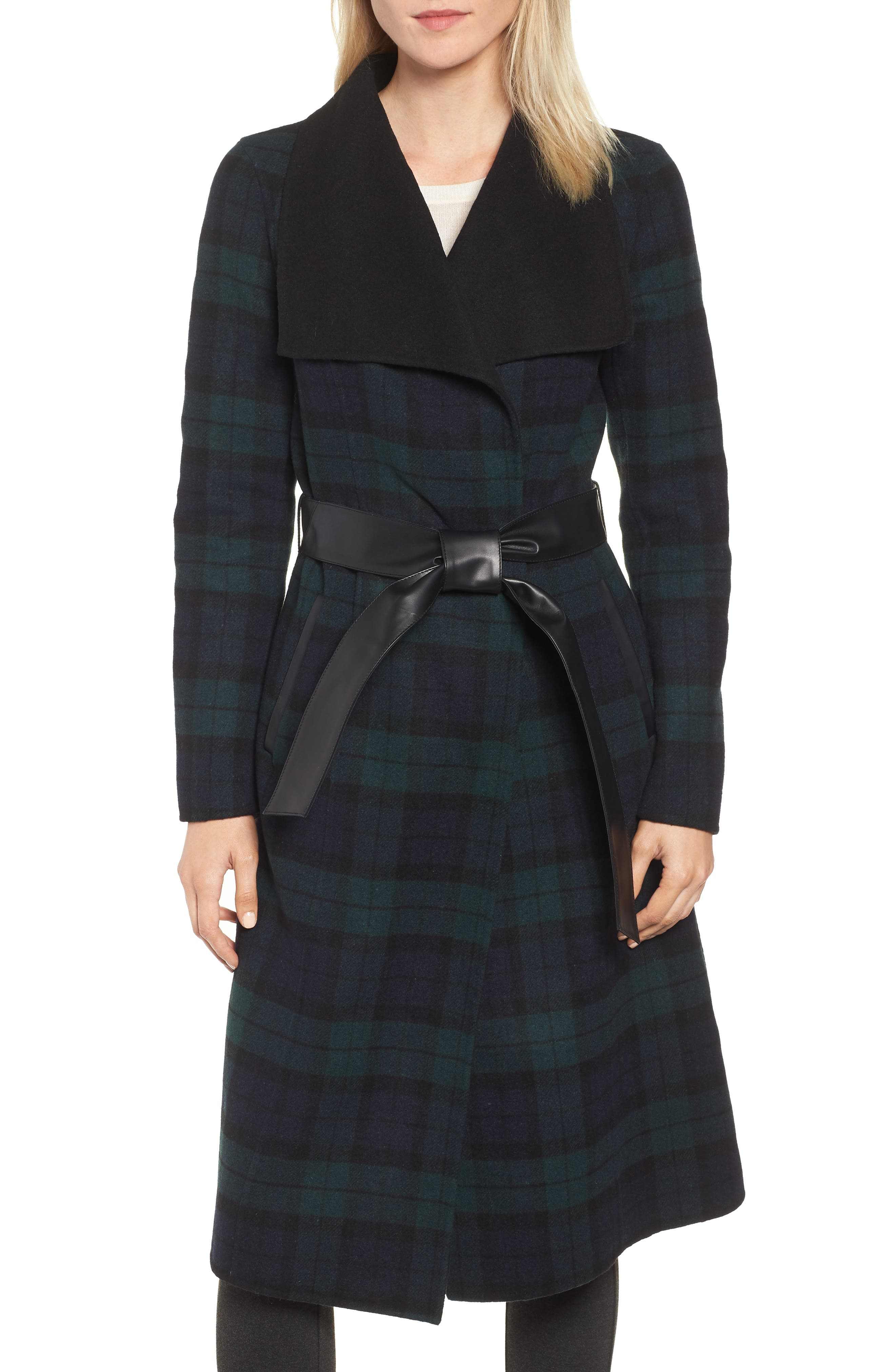 MACKAGE Double Face Wool Leather Belted Coat, Main, color, 411