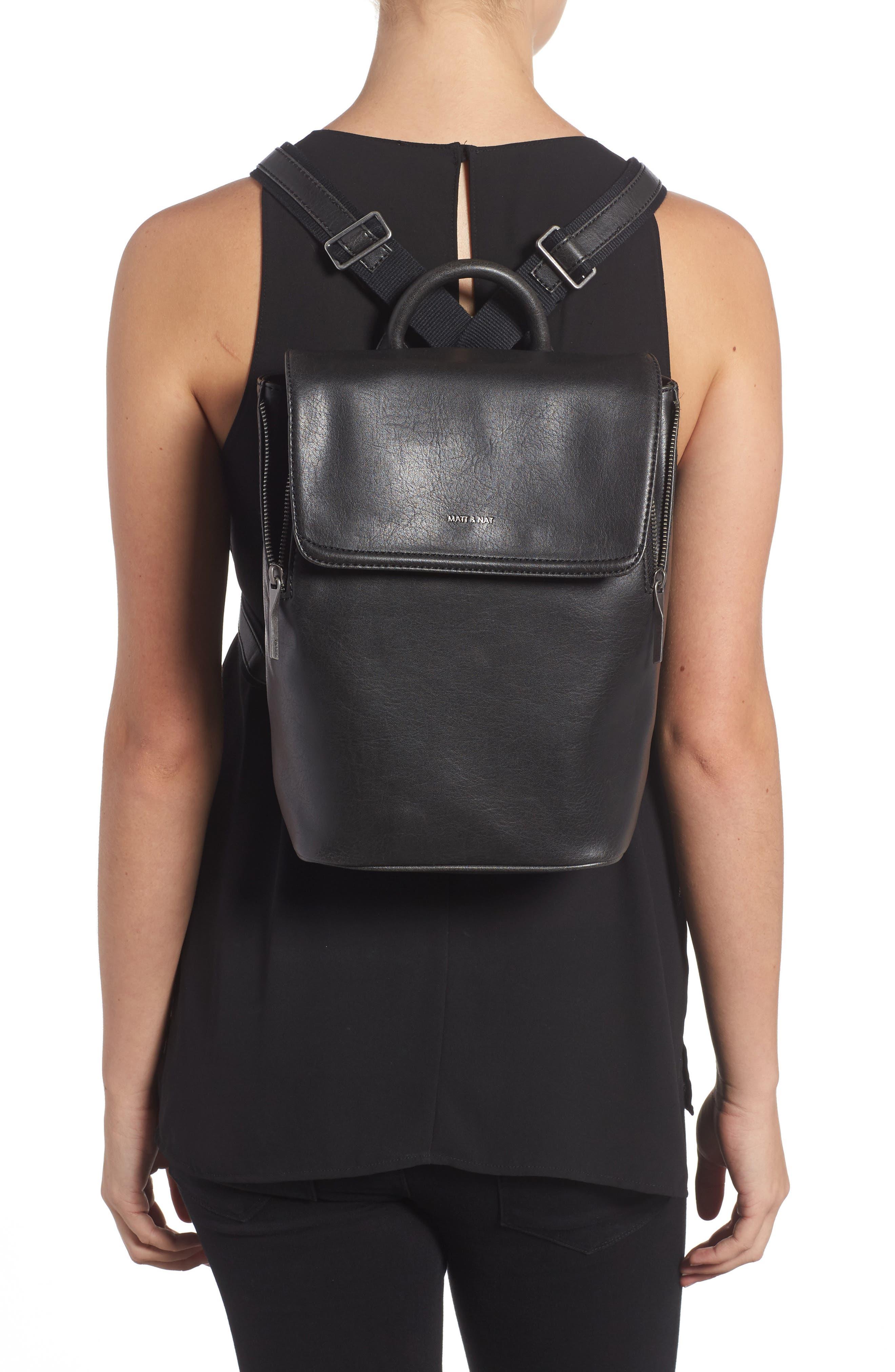 Mini Fabi Faux Leather Backpack,                             Alternate thumbnail 2, color,                             BLACK
