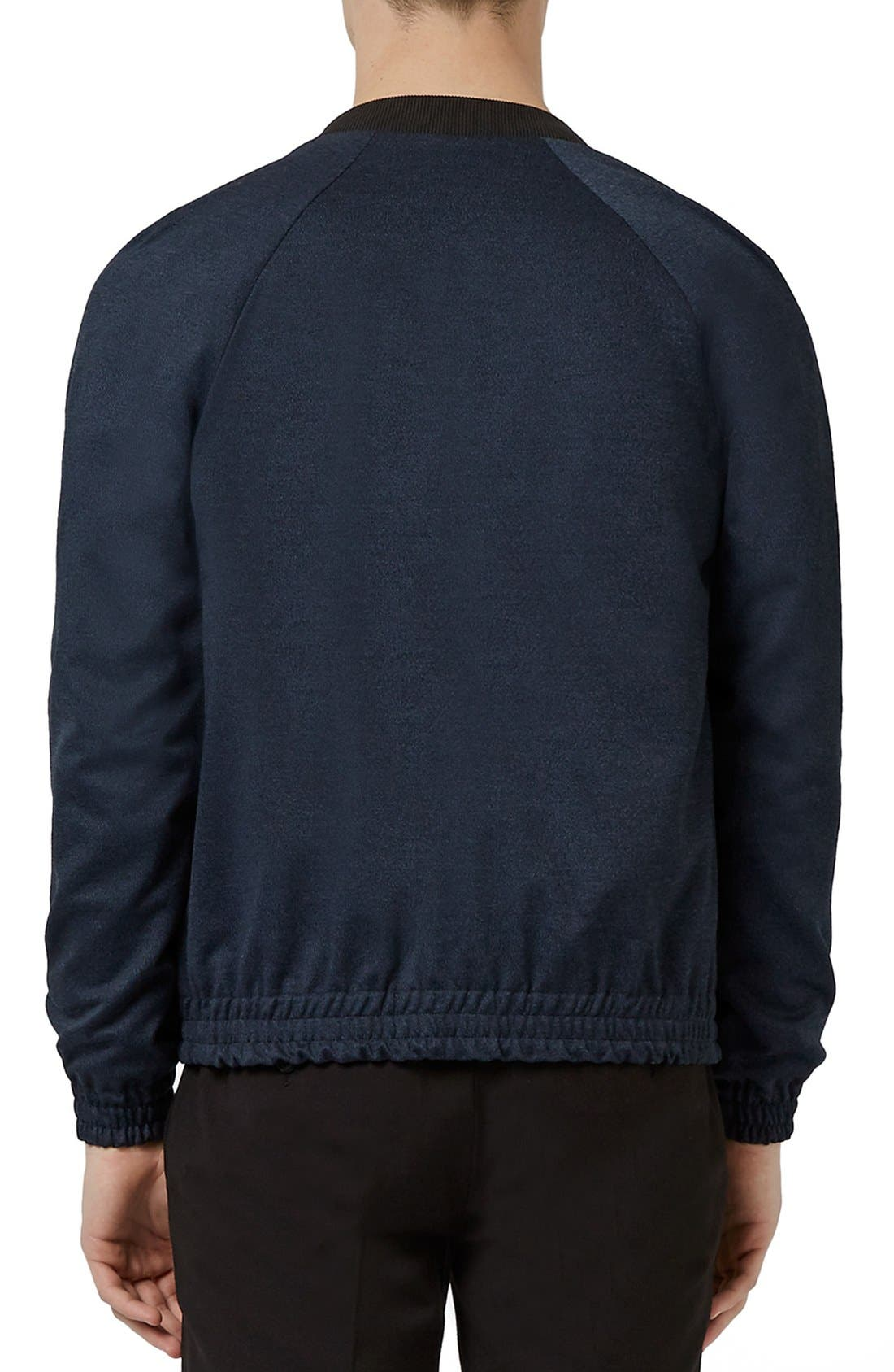 TOPMAN,                             Tailored Fit Raglan Bomber Jacket,                             Alternate thumbnail 4, color,                             410