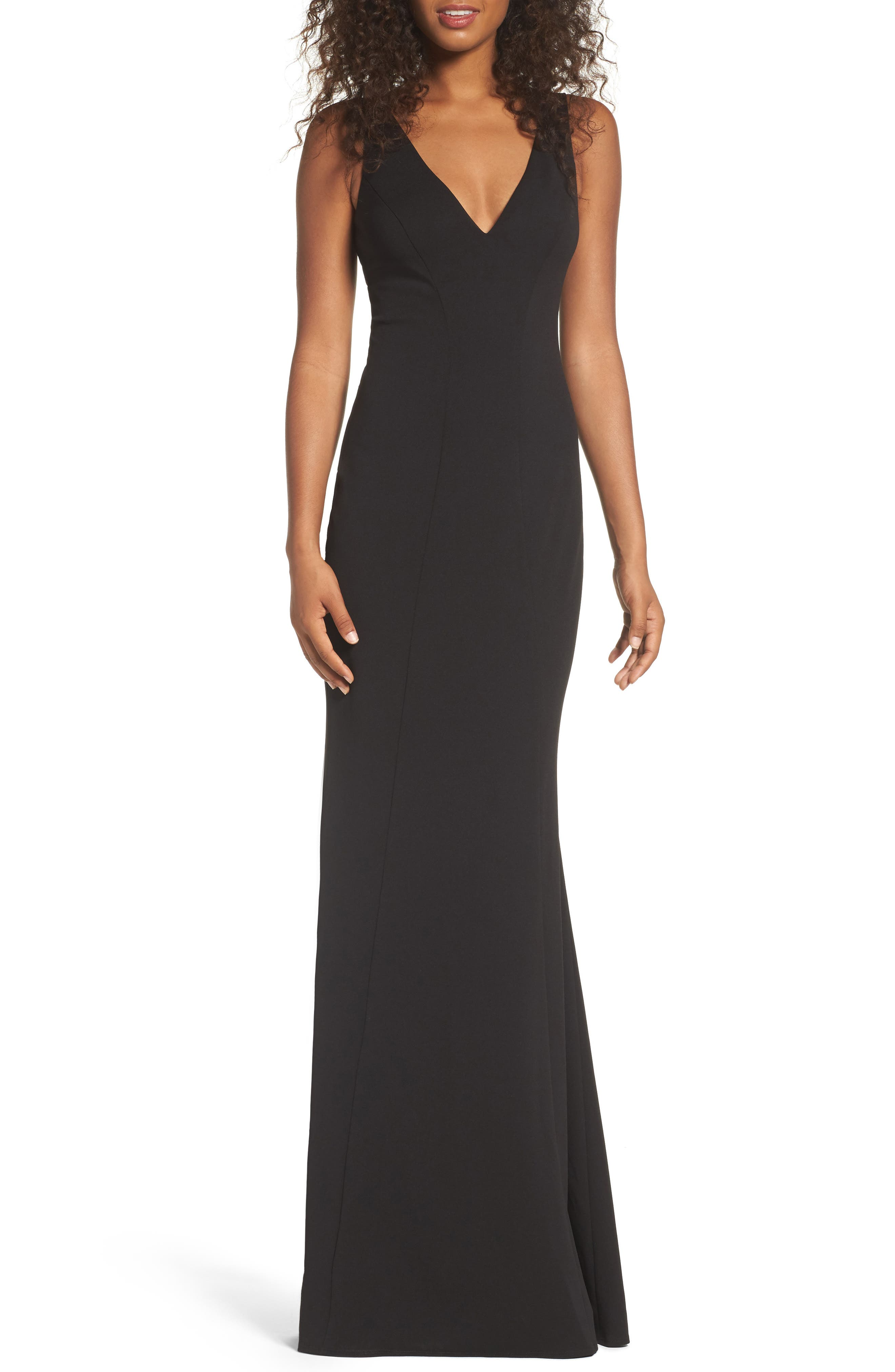 KATIE MAY,                             Mischka V-Neck Crepe Gown,                             Main thumbnail 1, color,                             BLACK
